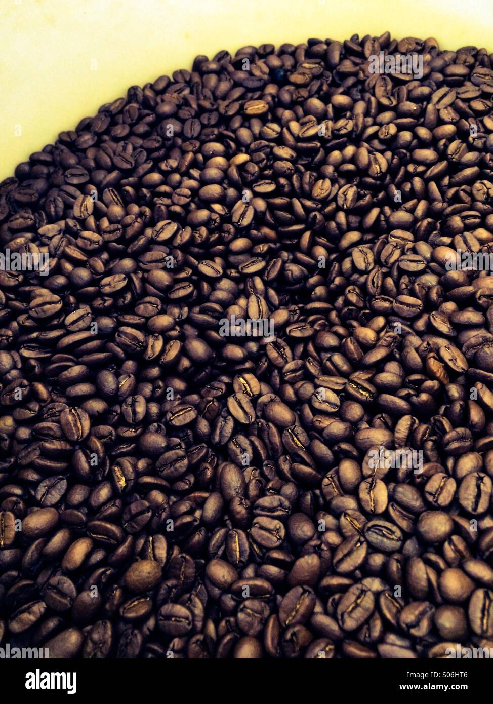 Coffee beans in a wooden barrel - Stock Image