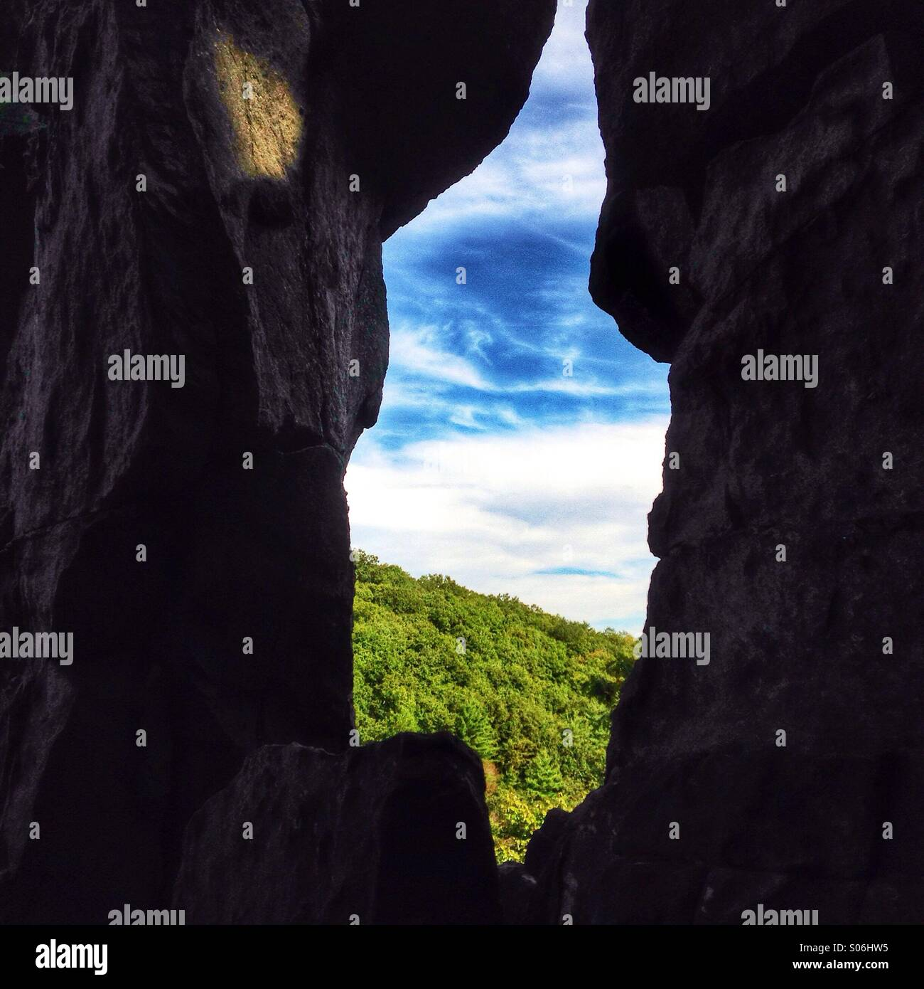 A craggy aperture at Rock State Park, Maryland. - Stock Image