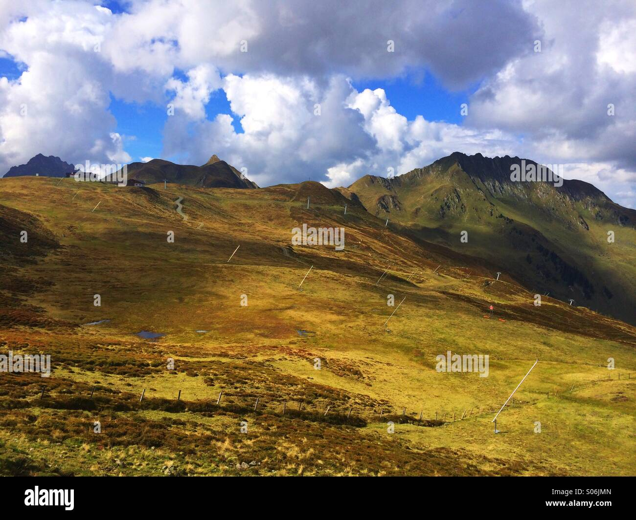 Downhill course in the mountains in autumn - Stock Image
