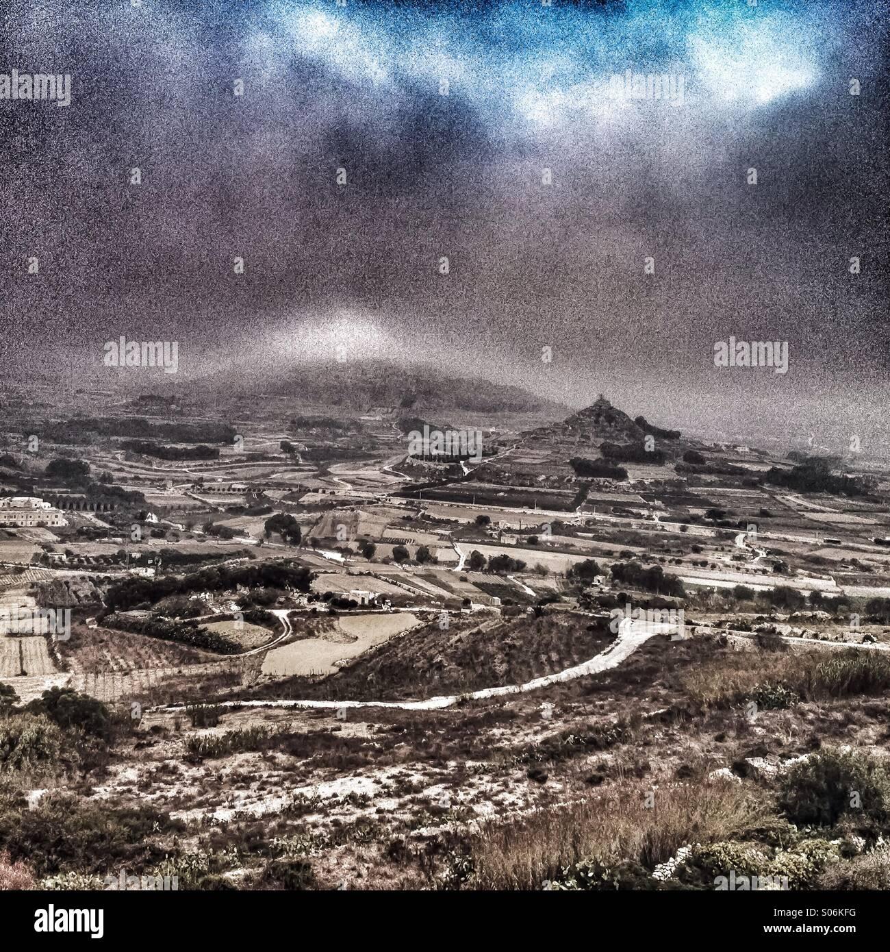 Autumn fog builds up on Mediterranean island - Stock Image