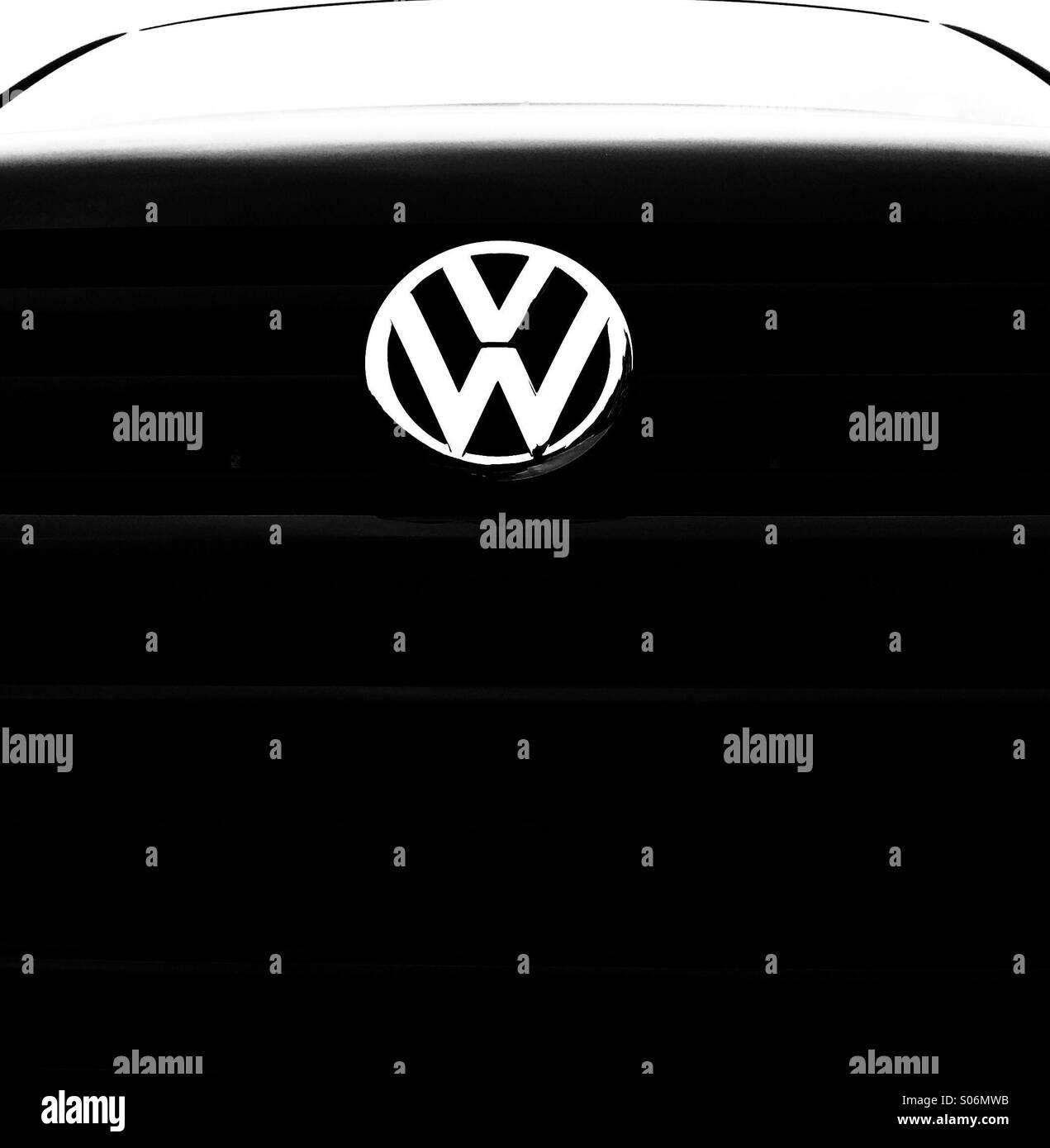 VW Transporter van, close up Stock Photo