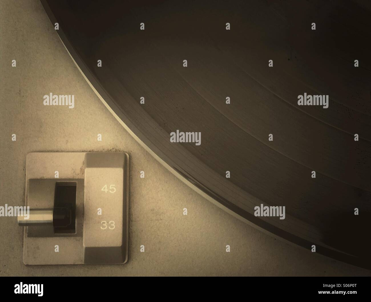 LP record and speed sector switch of a turntable Stock Photo