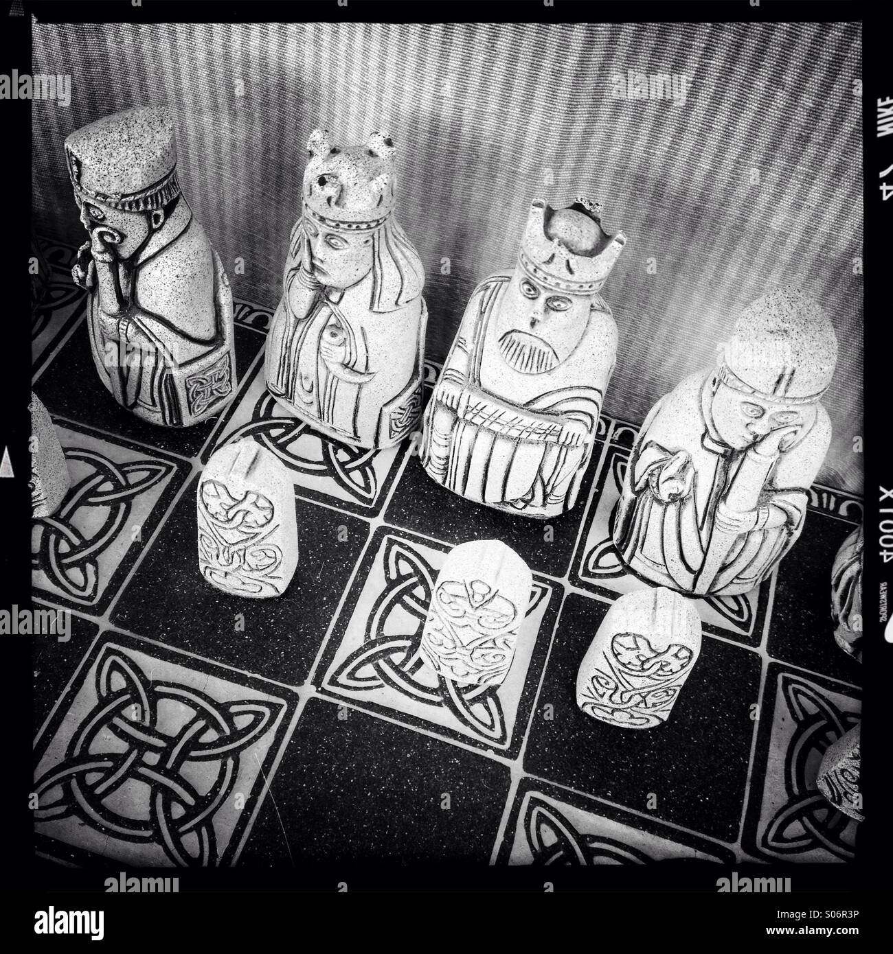 Set of Lewis chessmen - Stock Image