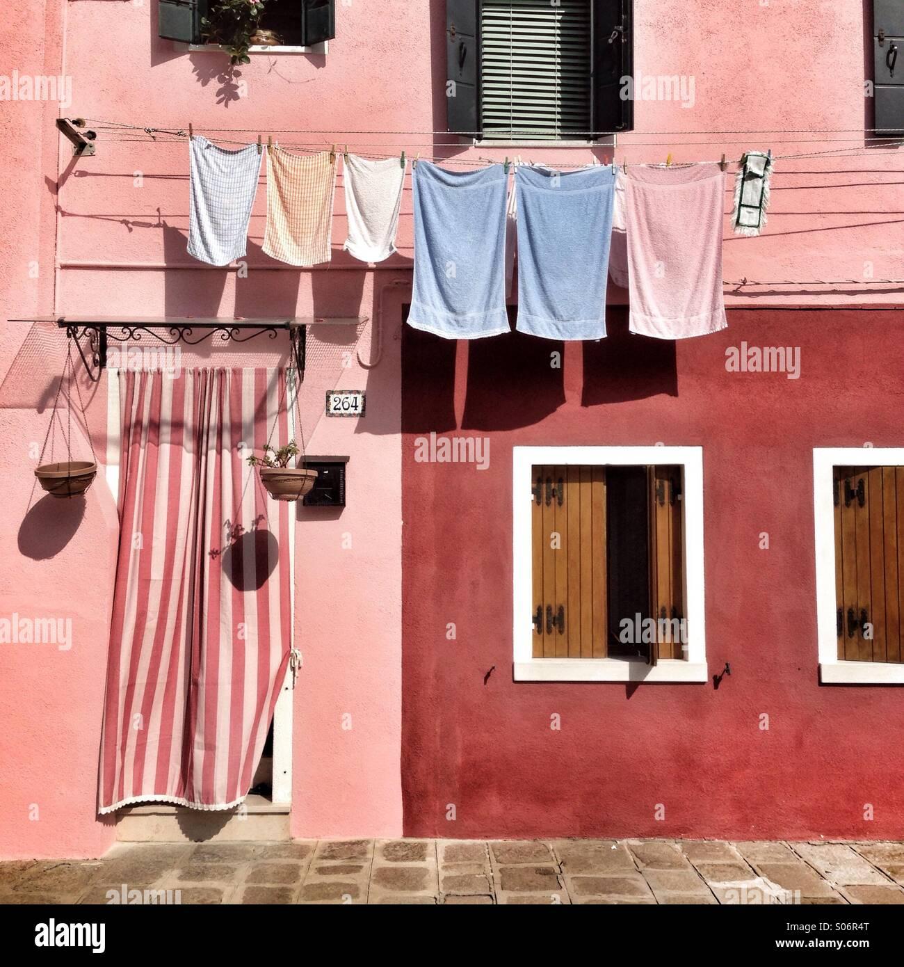 Colourful house in Burano, Venice, Italy Stock Photo