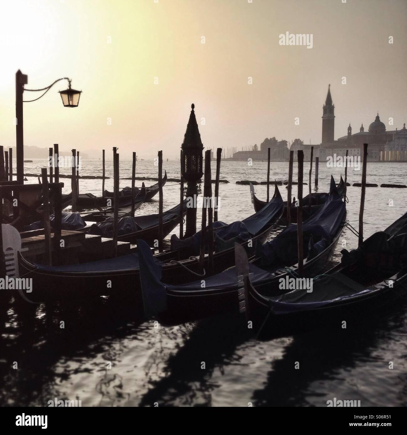 Gondolas at St Marks in Venice, Italy Stock Photo