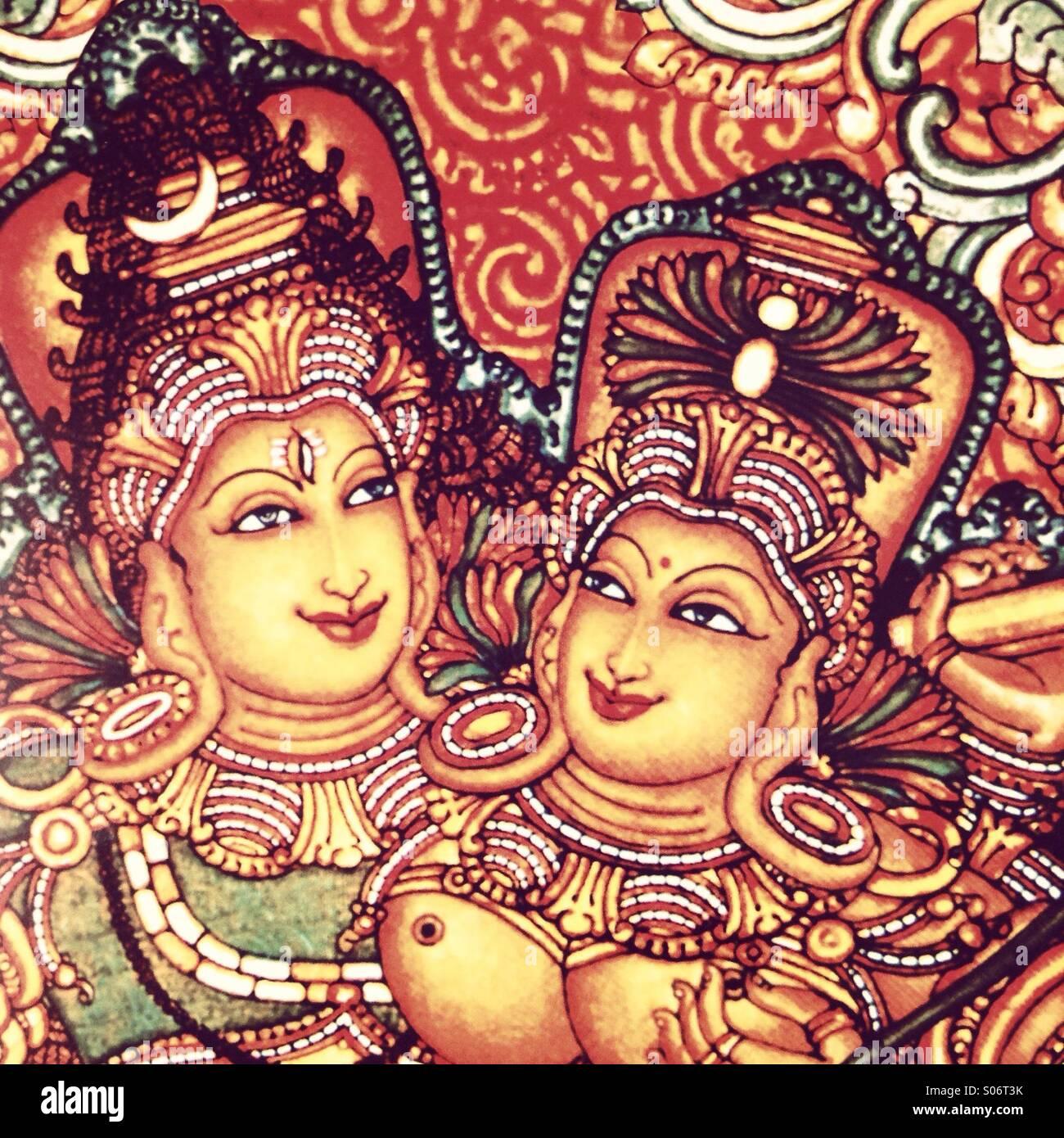 Mural painting of Hindu lord shiva and goddess Parvati - Stock Image