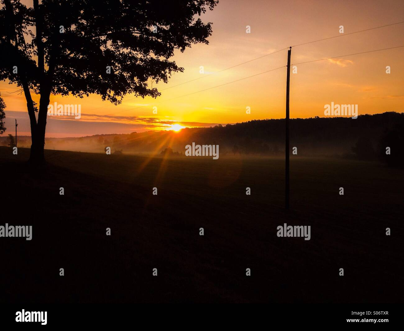 Golden autumn sunrise - Stock Image