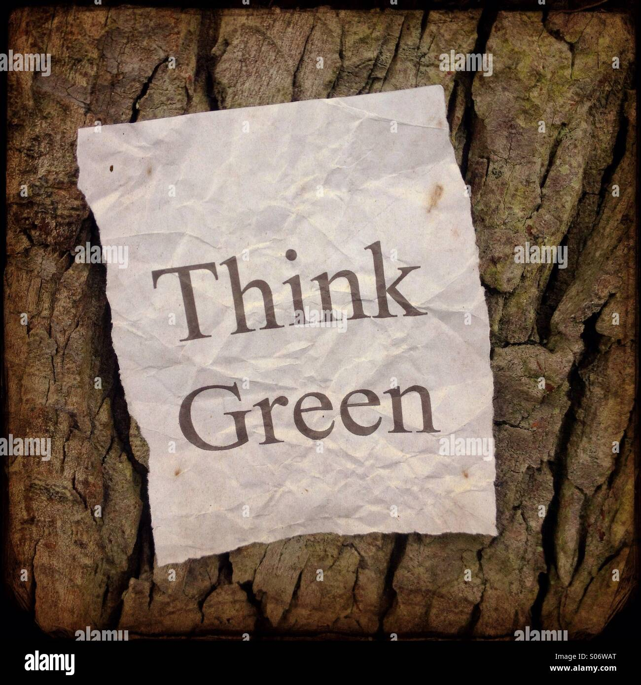 Think Green message on a crumpled paper notice posted on tree bark. A reminder for environmental impact - Stock Image