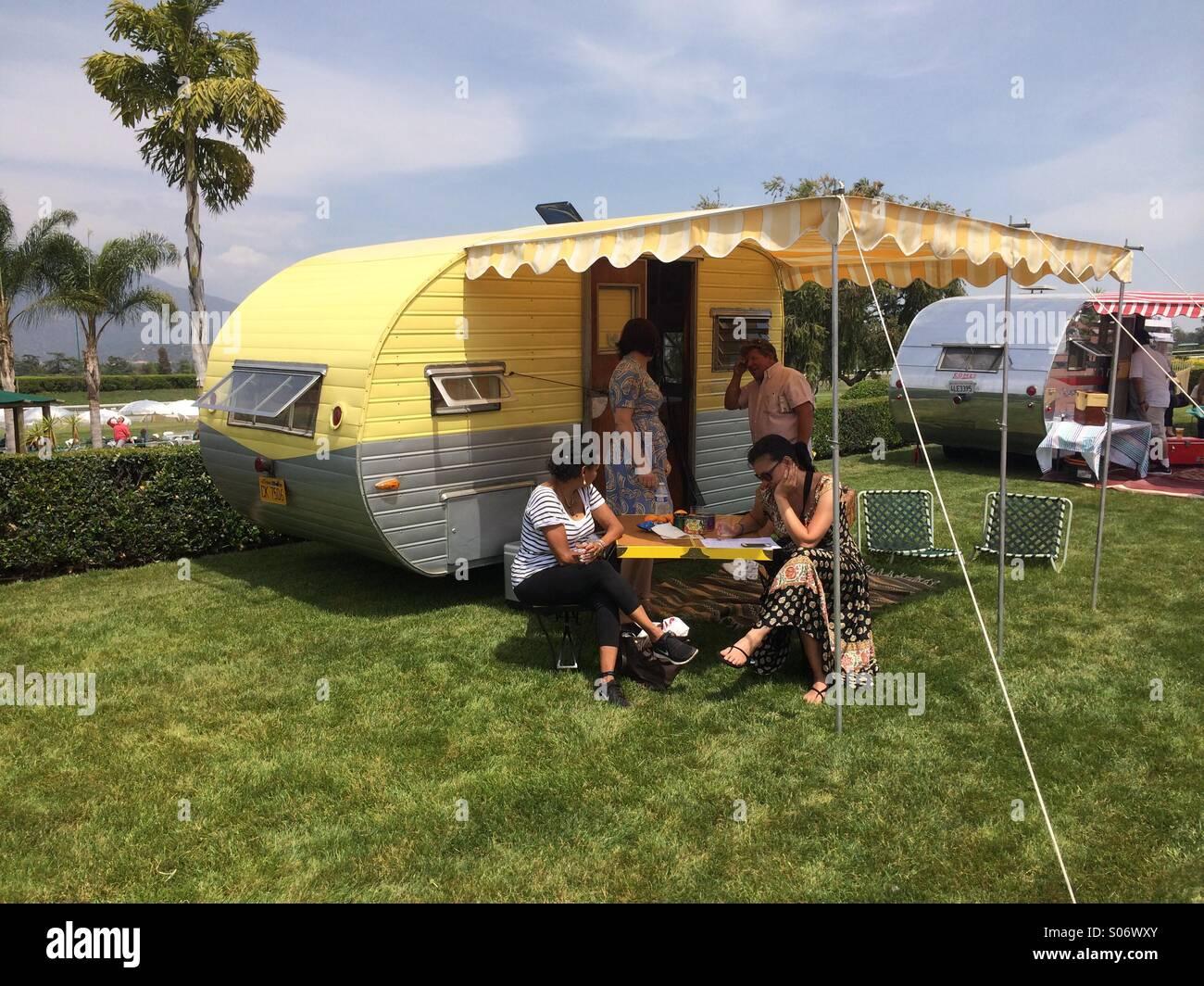 Vintage Mini Camper On Display At Santa Anita