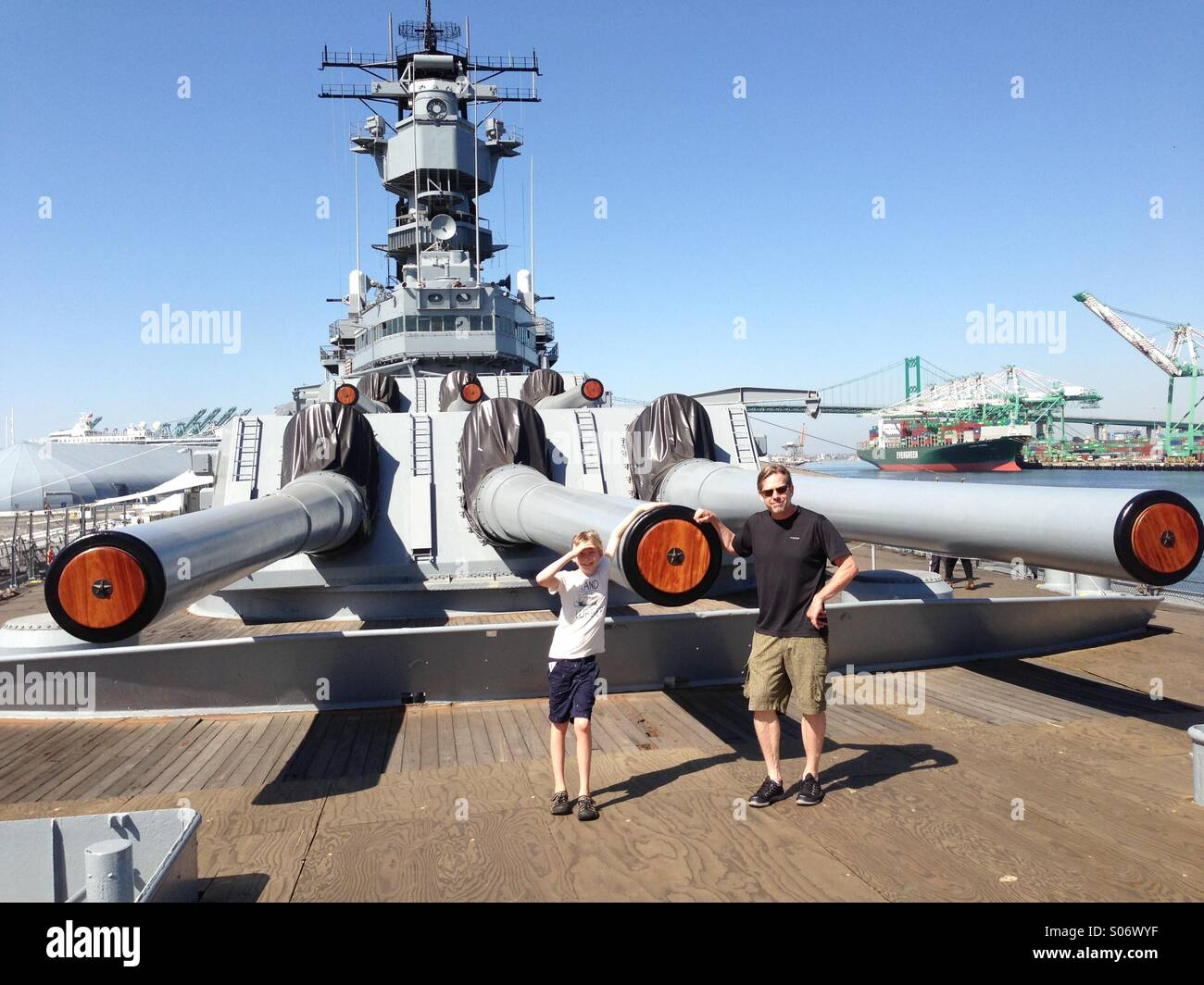 Guns of Battleship USS Iowa. - Stock Image