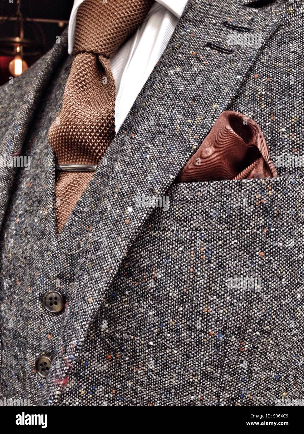 Elegant tweed jacket and vest - Stock Image