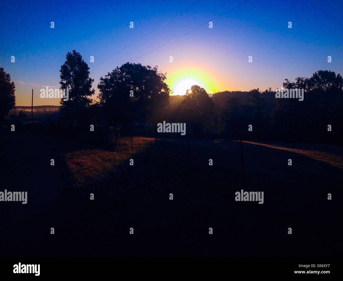 Sunrise like a rainbow - Stock Image