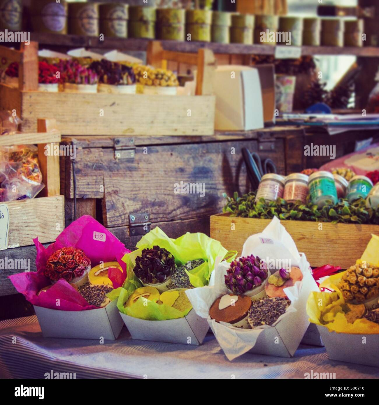 Market stall selling hand crafted gifts - Stock Image