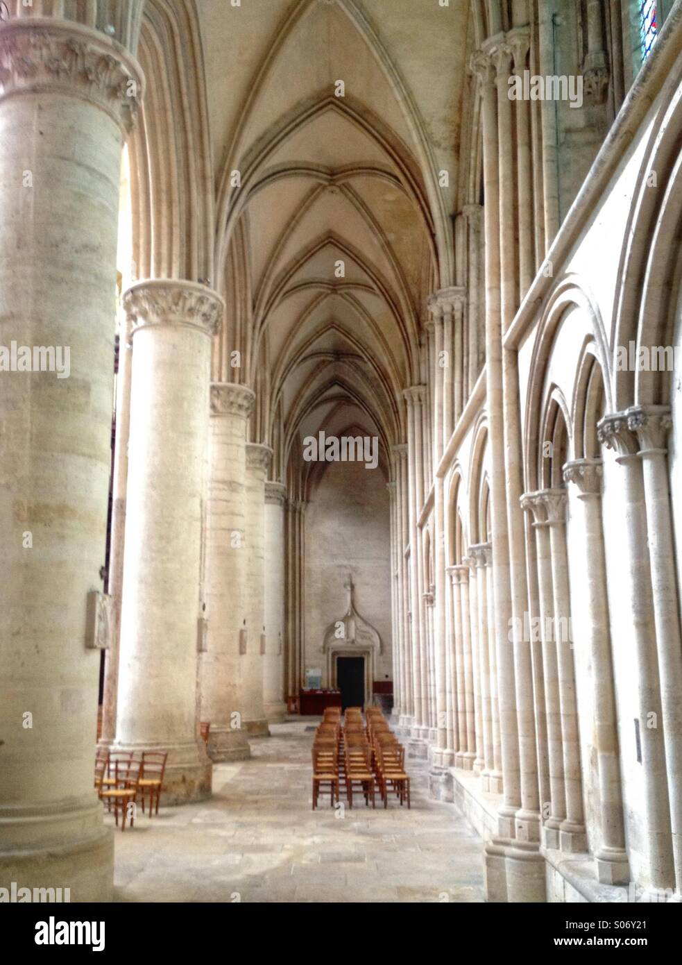Interior with chairs and columns. Sees Cathedral, Orne, normandy, France - Stock Image