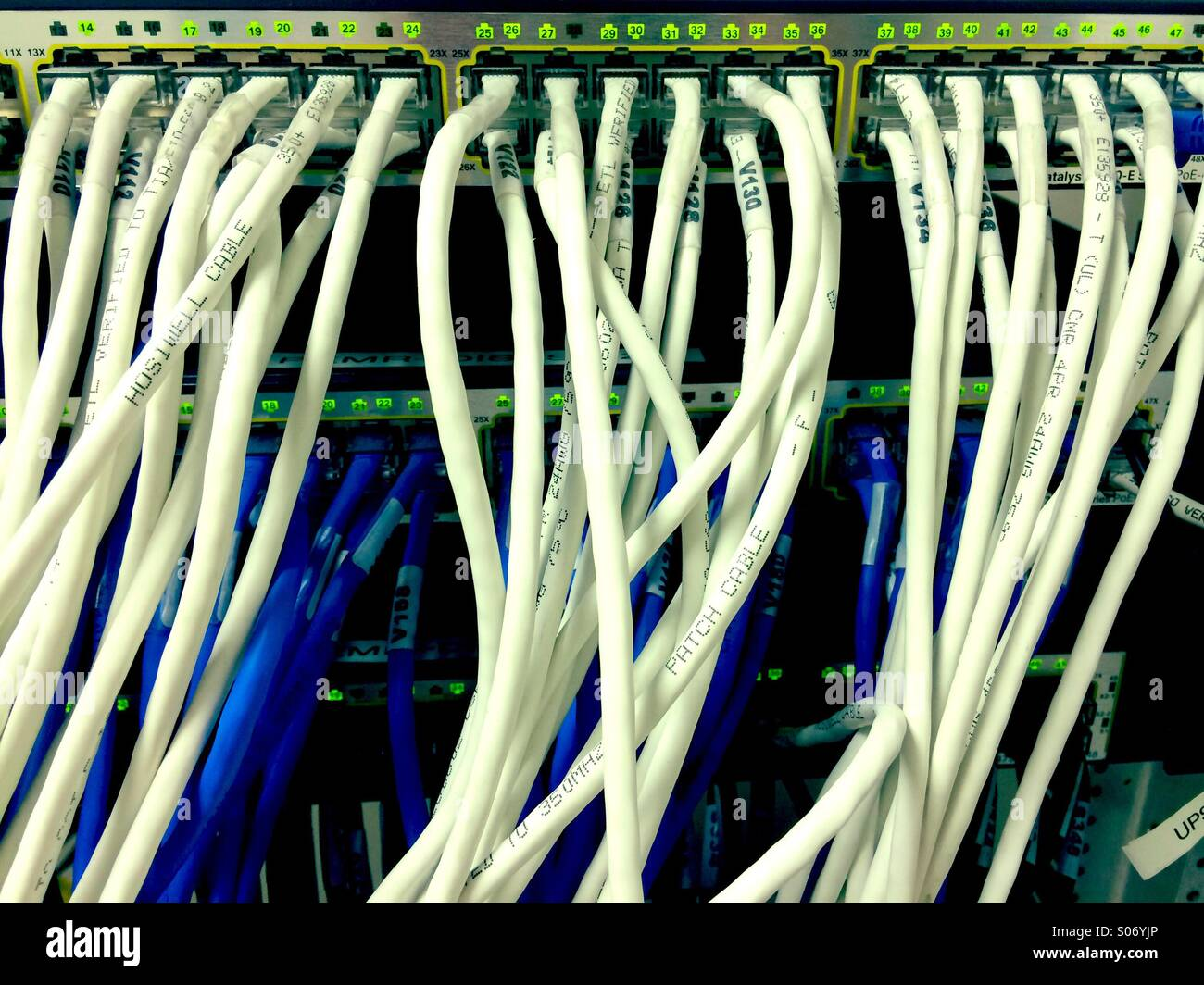 Computer network cabling Stock Photo