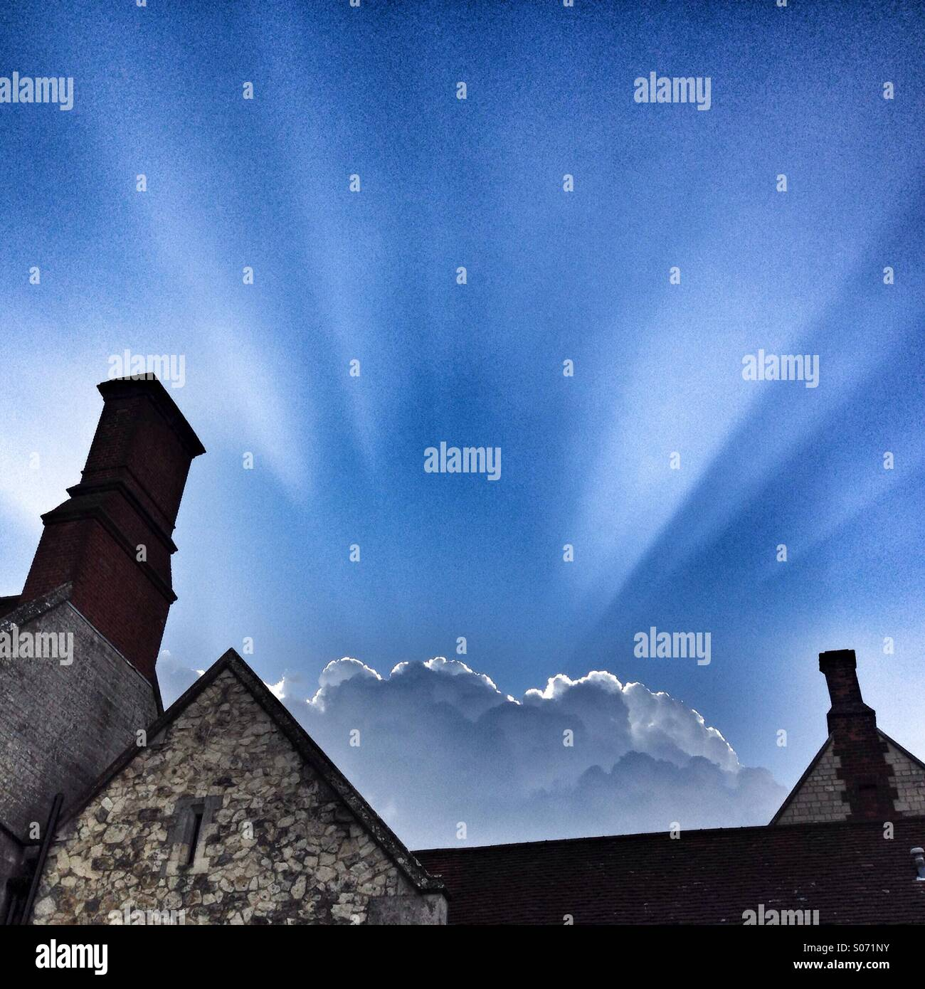 Amazing silver lining cloud on stormy day Stock Photo