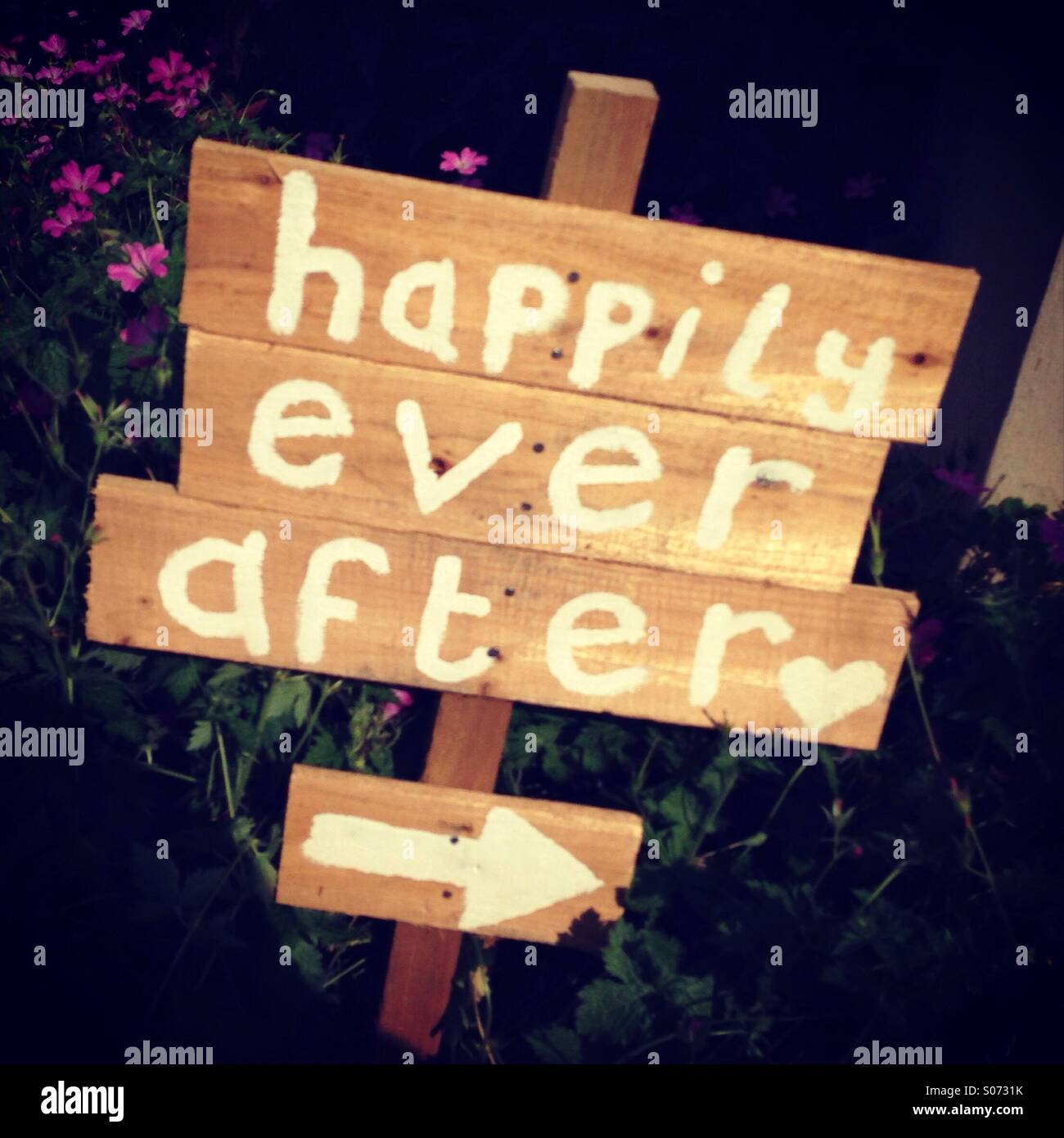 Happily ever after sign - Stock Image