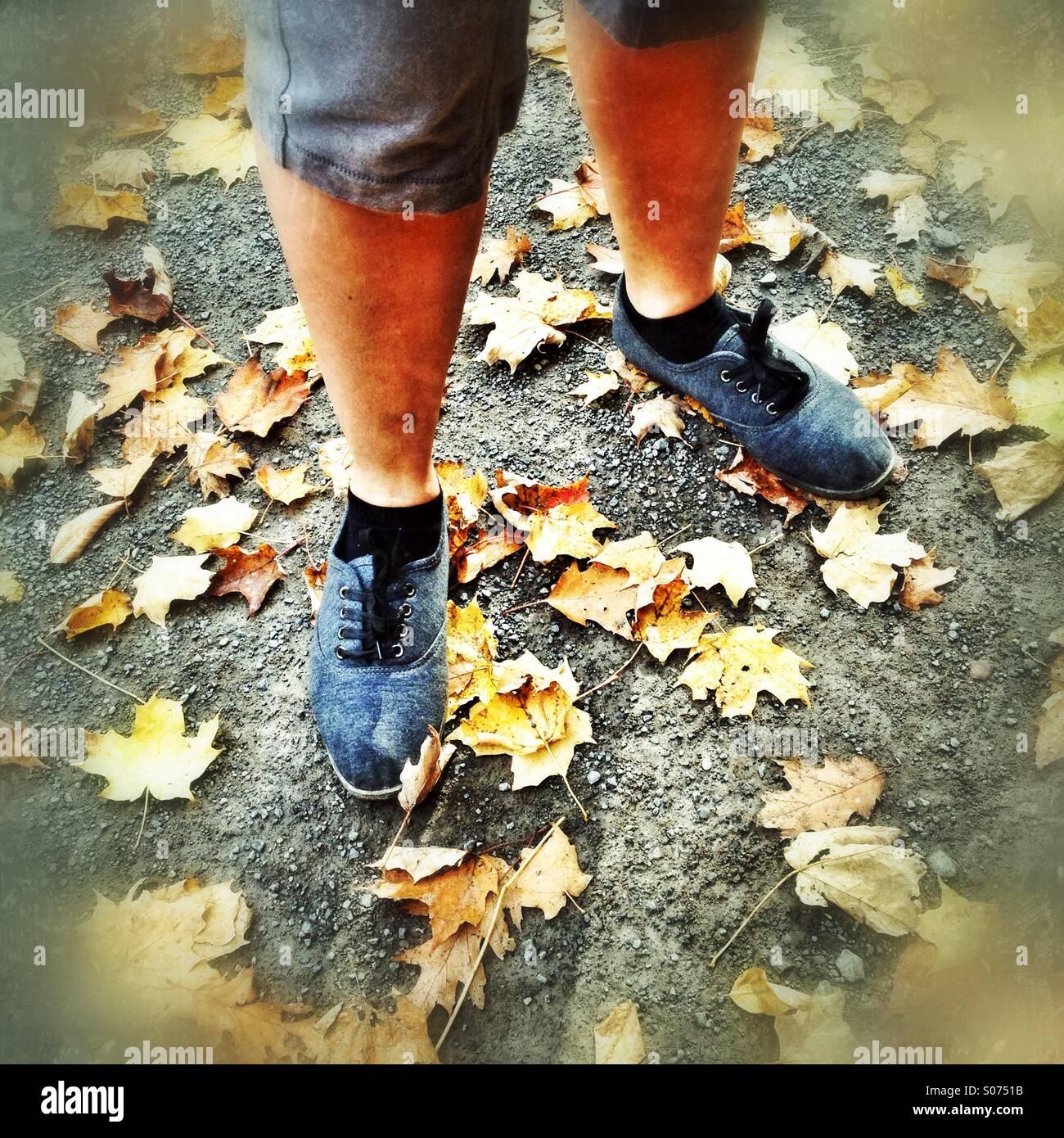 Autumn feet - Stock Image