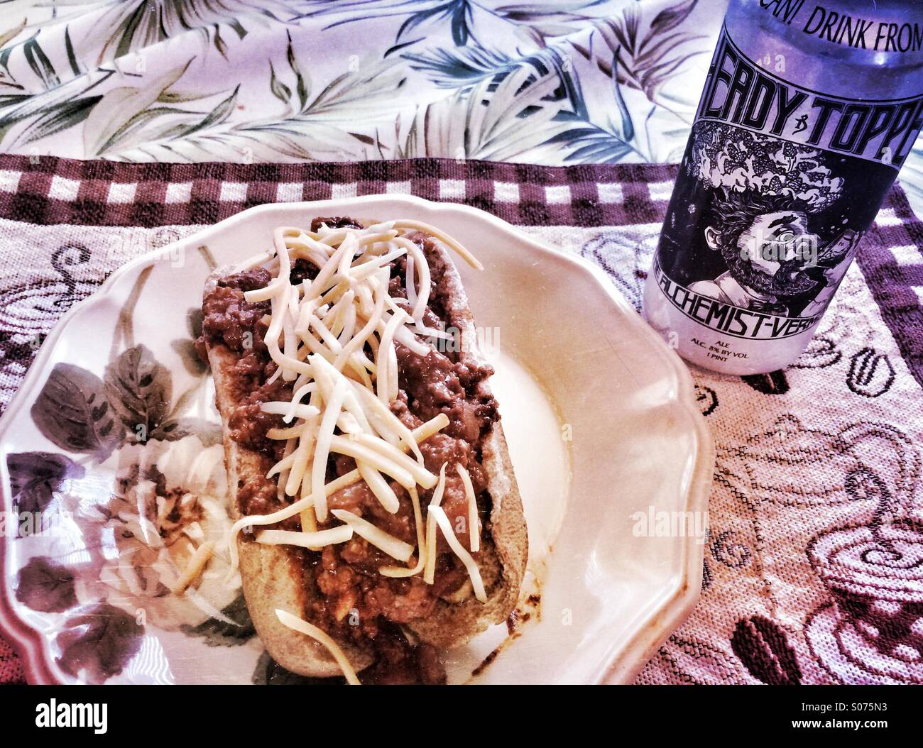 A Chili Dog and a can of Heady Topper - Stock Image