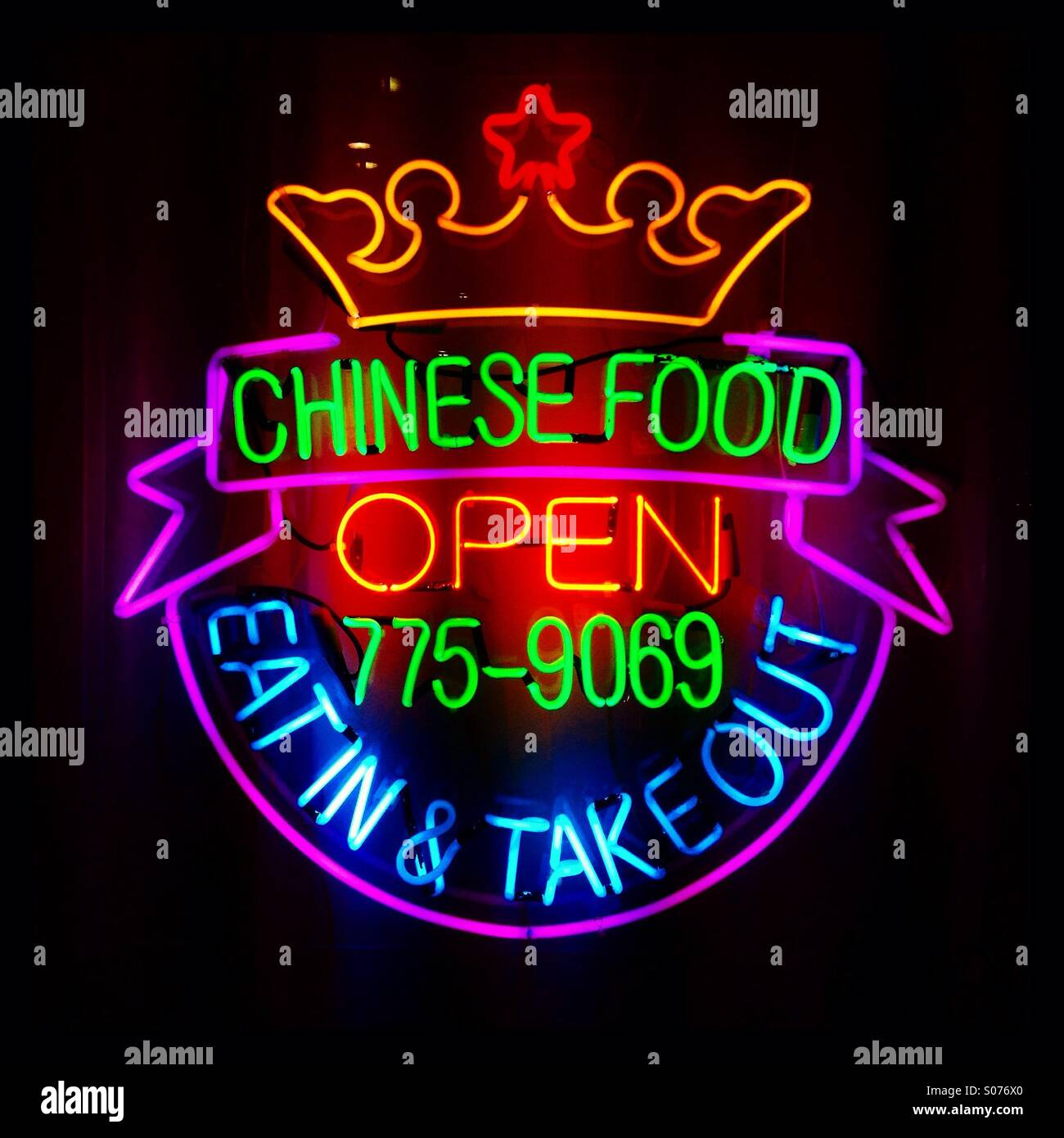 Chinese restaurant neon sign in color  Chinese food  Open  Eat in