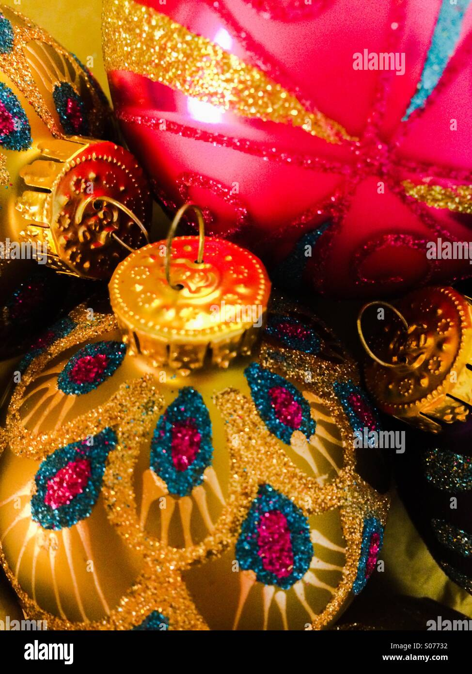 Christmas baubles - Stock Image