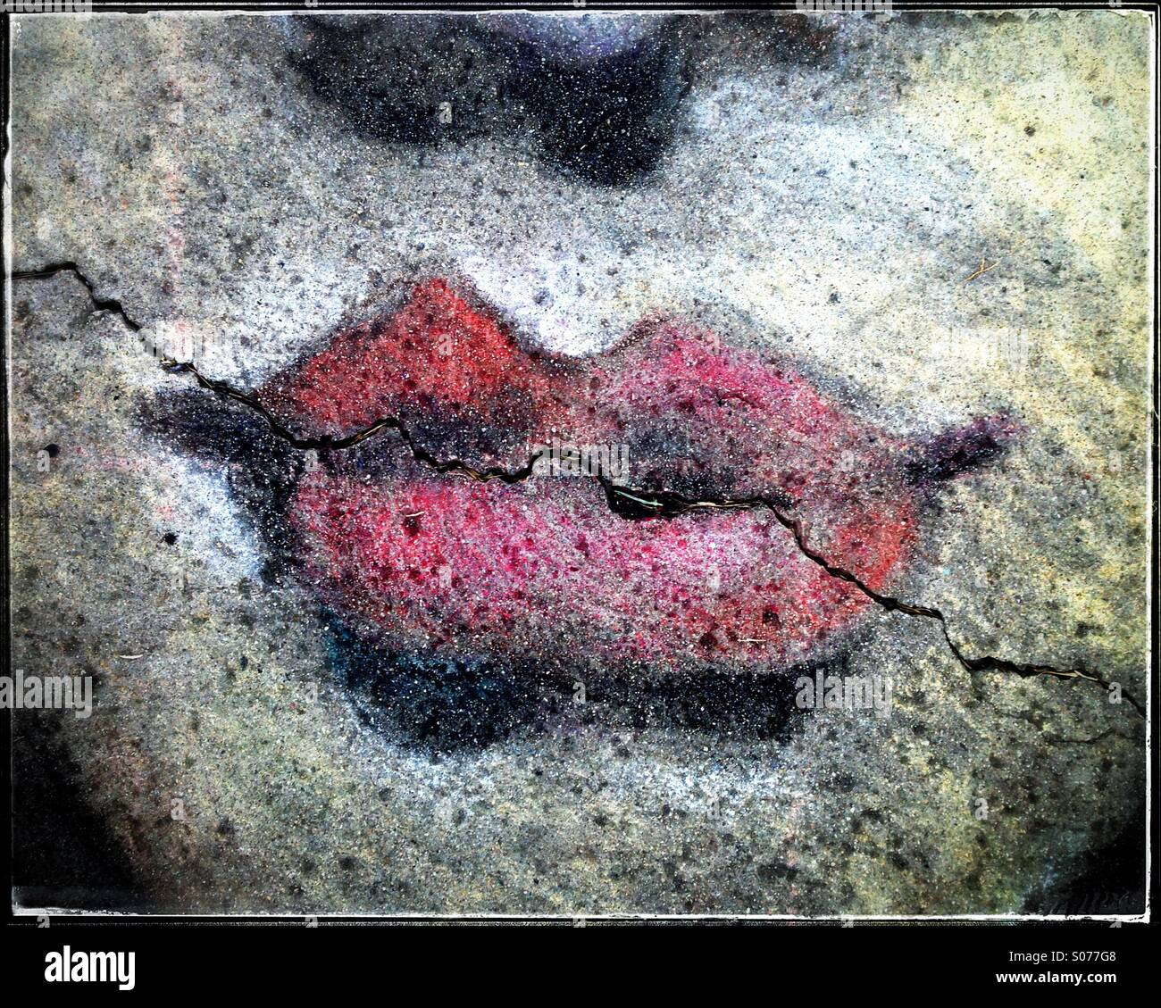 Street Art Of Cracked Lips - Stock Image
