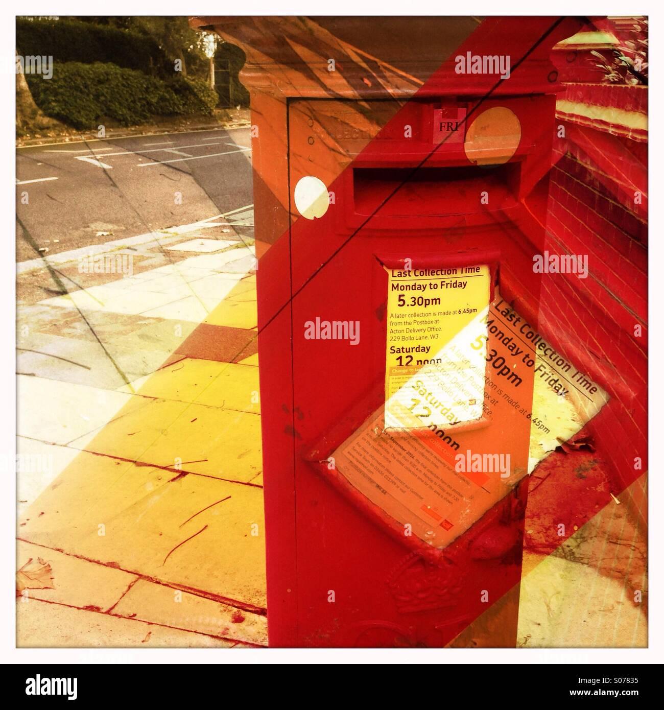 Post box - double exposure - Stock Image