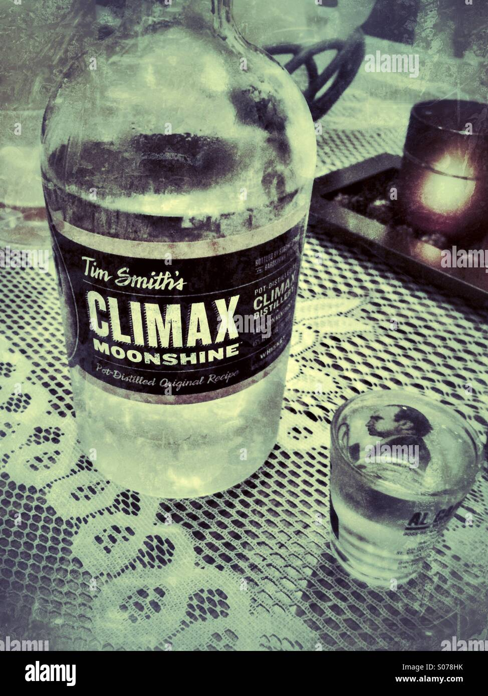 A Shot of Tim Smith's Climax Moonshine - Stock Image
