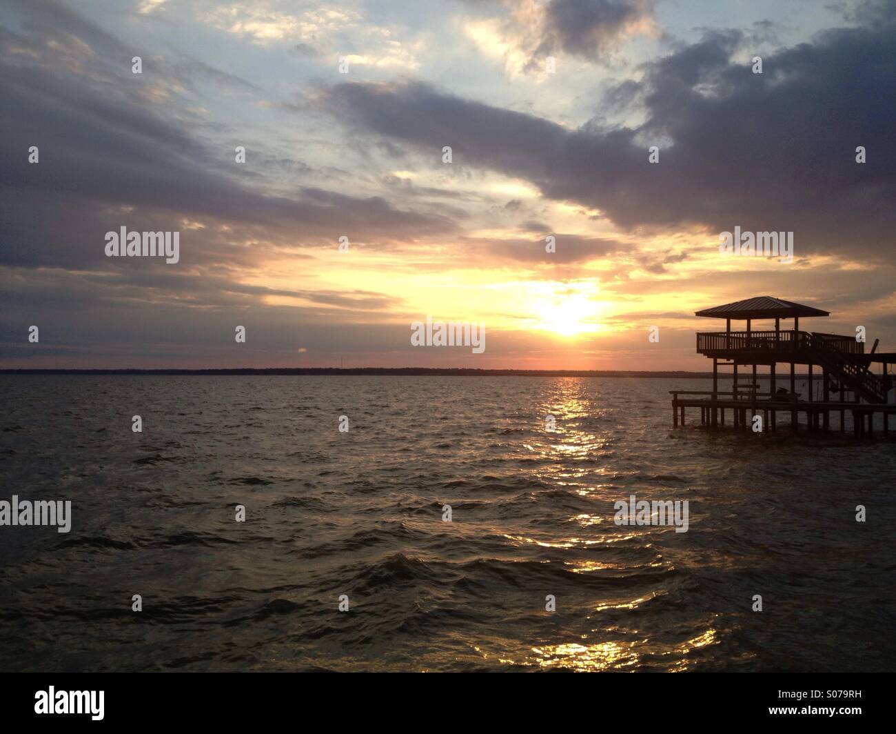 Sunset on Lake Livingston, Texas - Stock Image