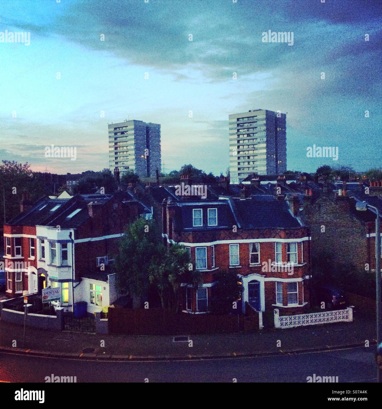View of London from a Tooting Broadway window - Stock Image