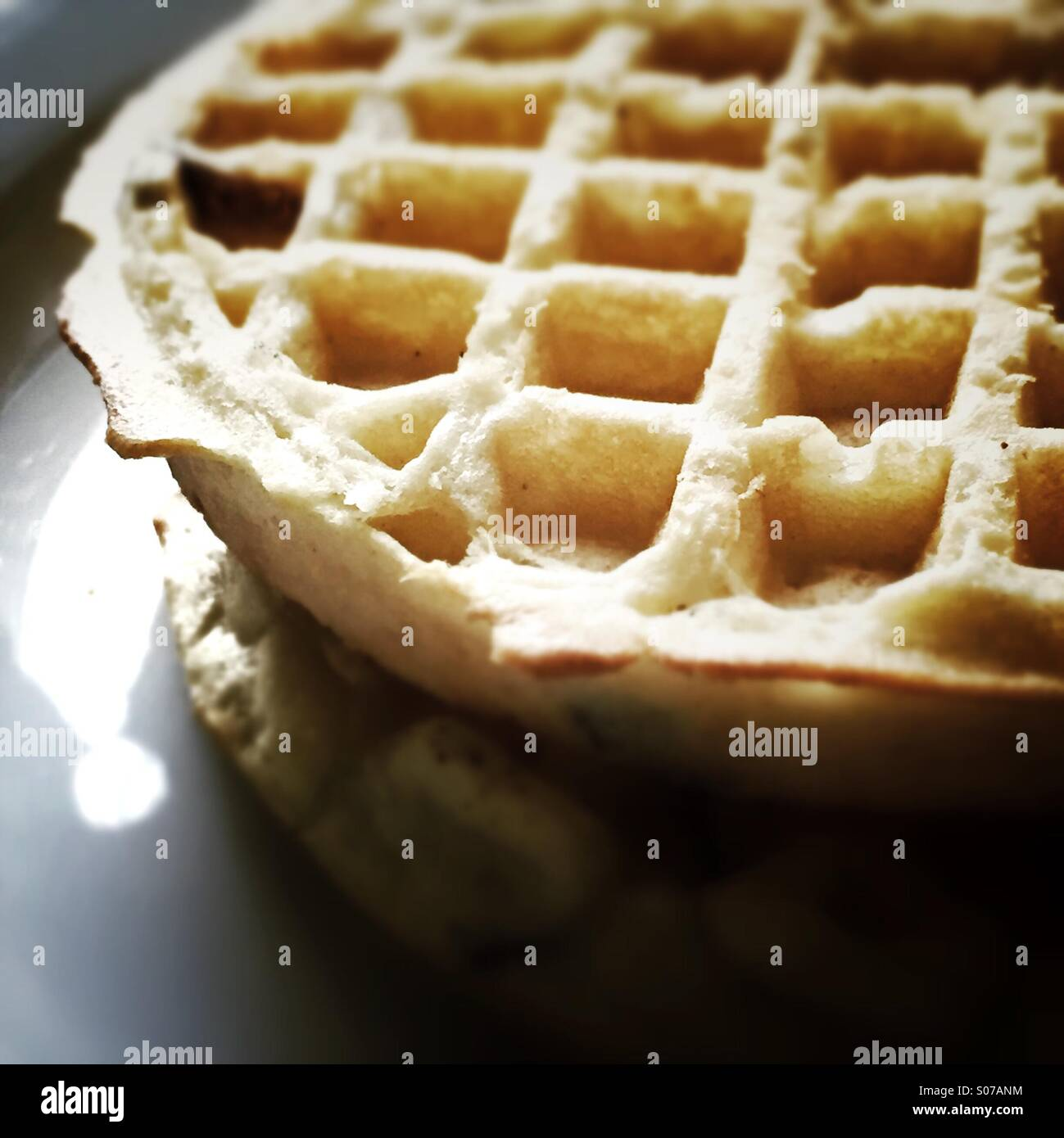 Waffles on white plate - Stock Image