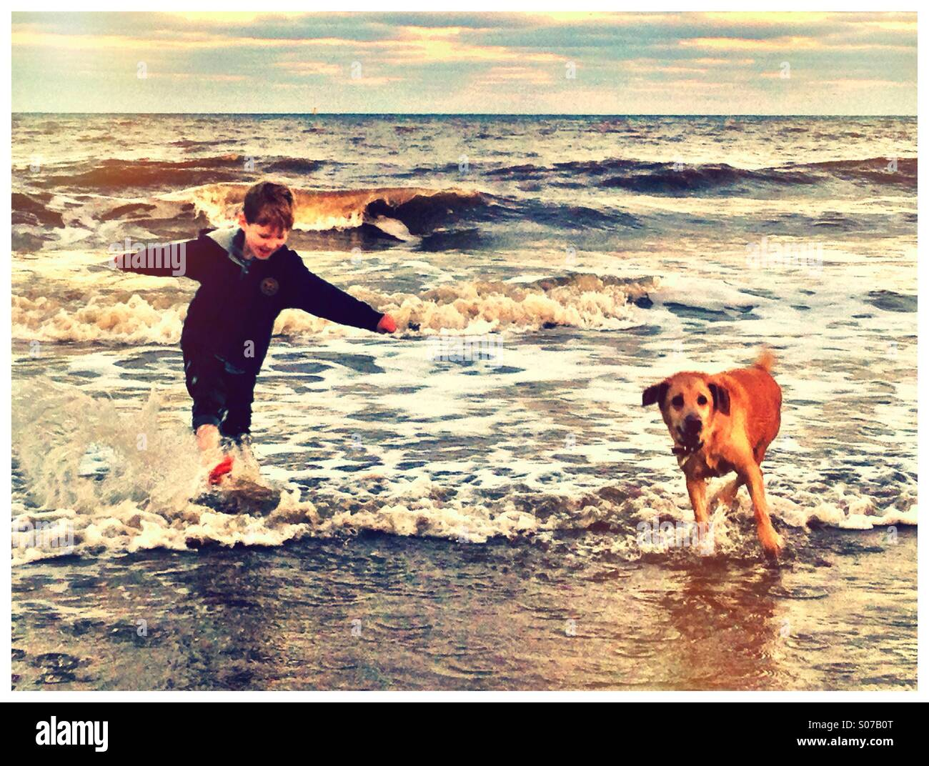 Autumn paddle. Boy and dog in the sea. Hornsea, Yorkshire. - Stock Image