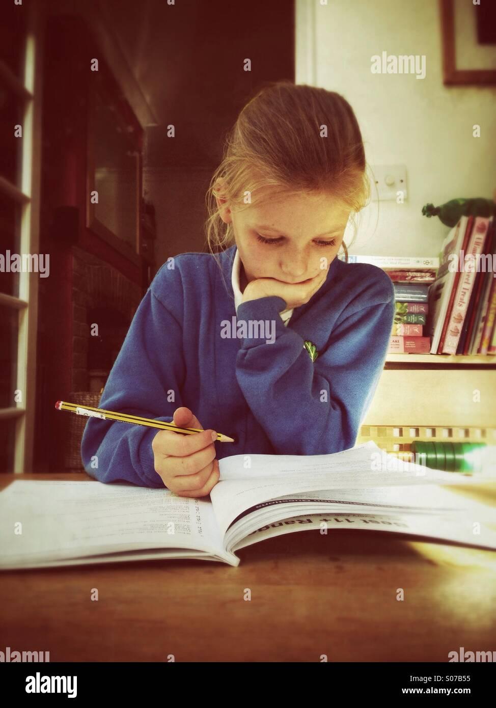 Child studying - Stock Image