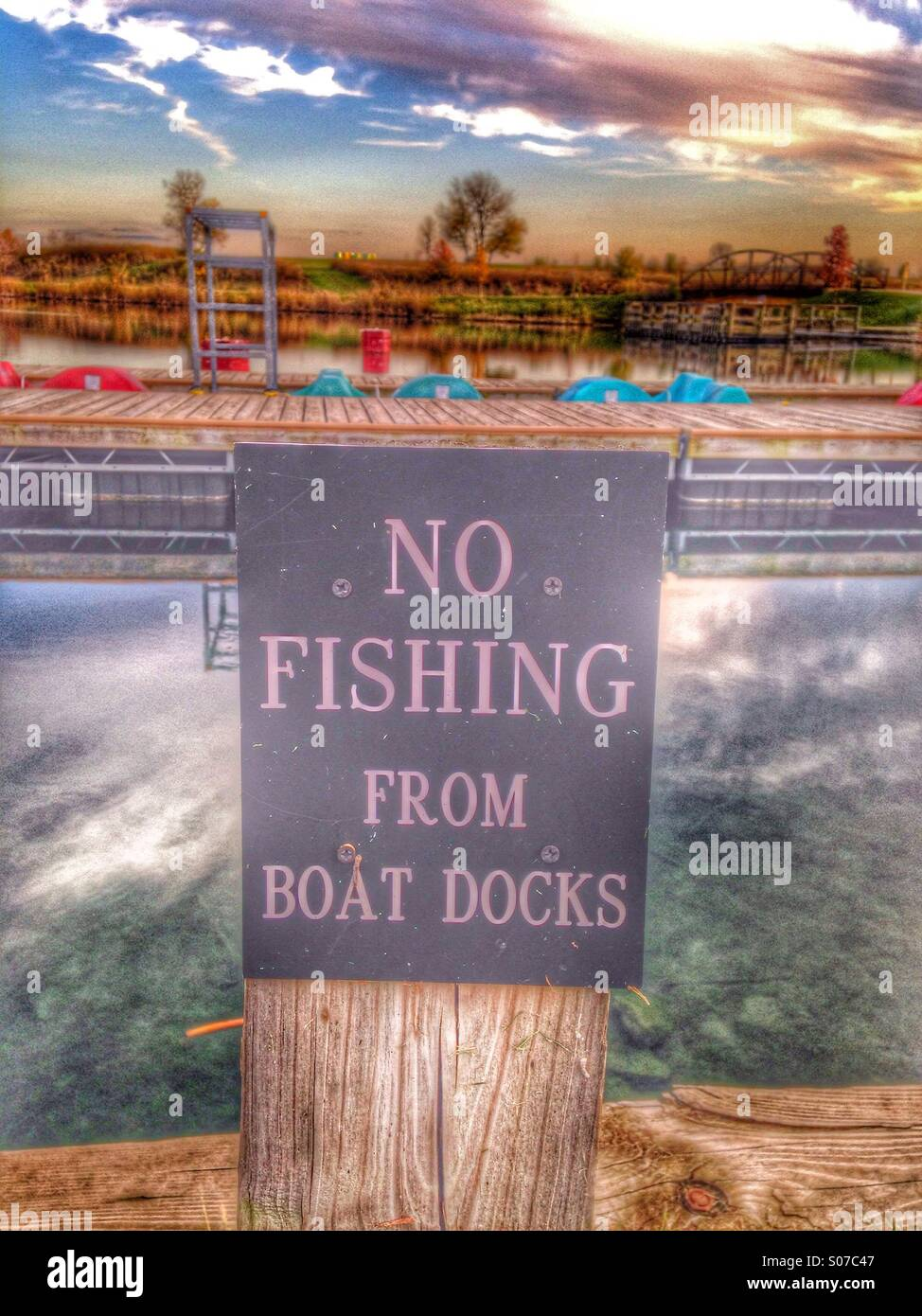 No fishing sign. - Stock Image