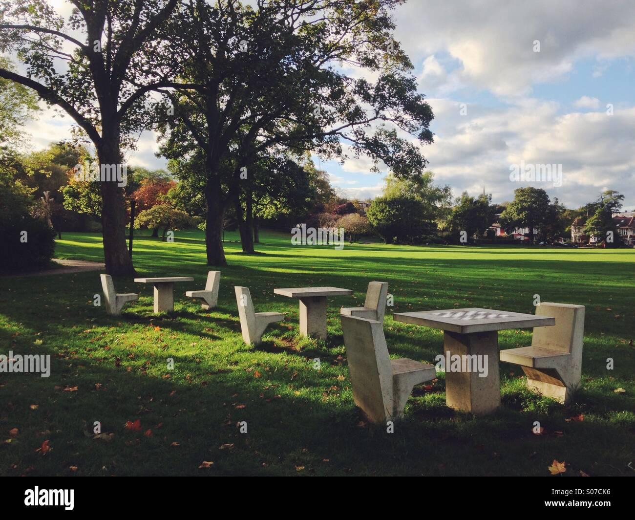Public chess tables at Springfield Park, Hackney. - Stock Image