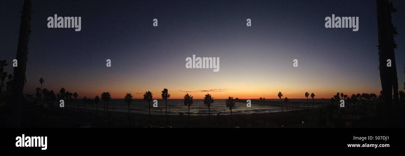 Sunset pano - Stock Image