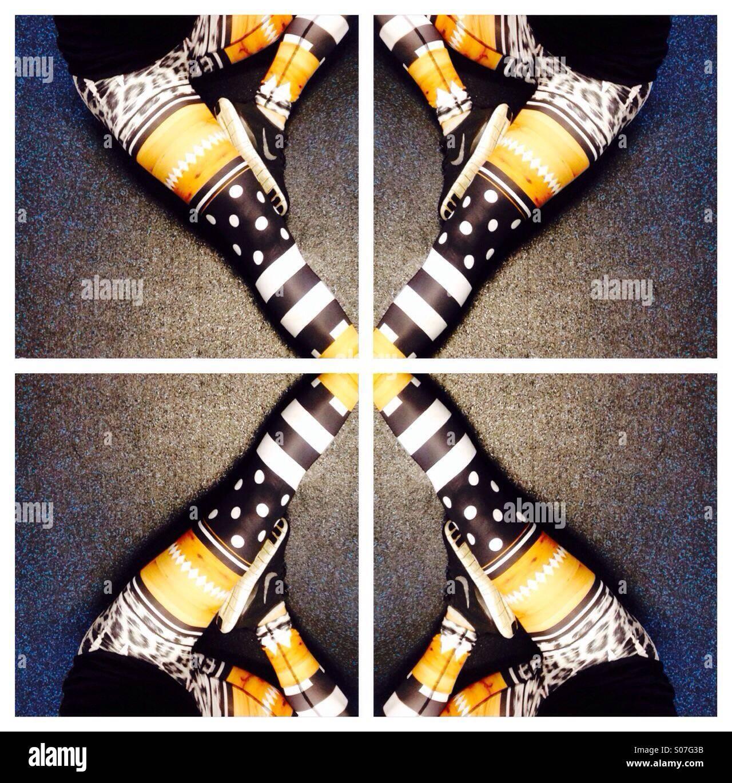 Patterned leggings - Stock Image