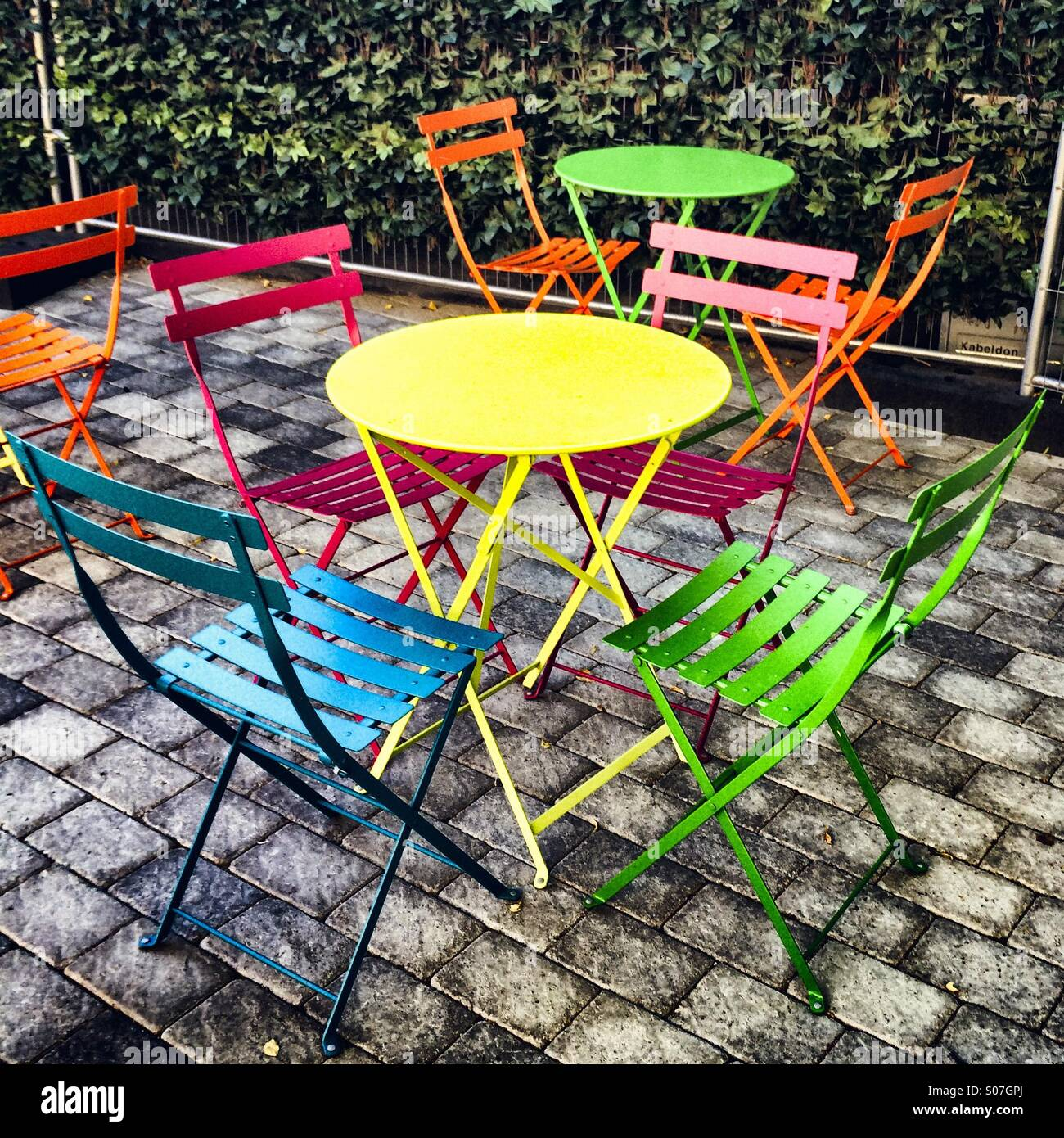 Bright Painted Tables Chairs High Resolution Stock Photography And Images Alamy