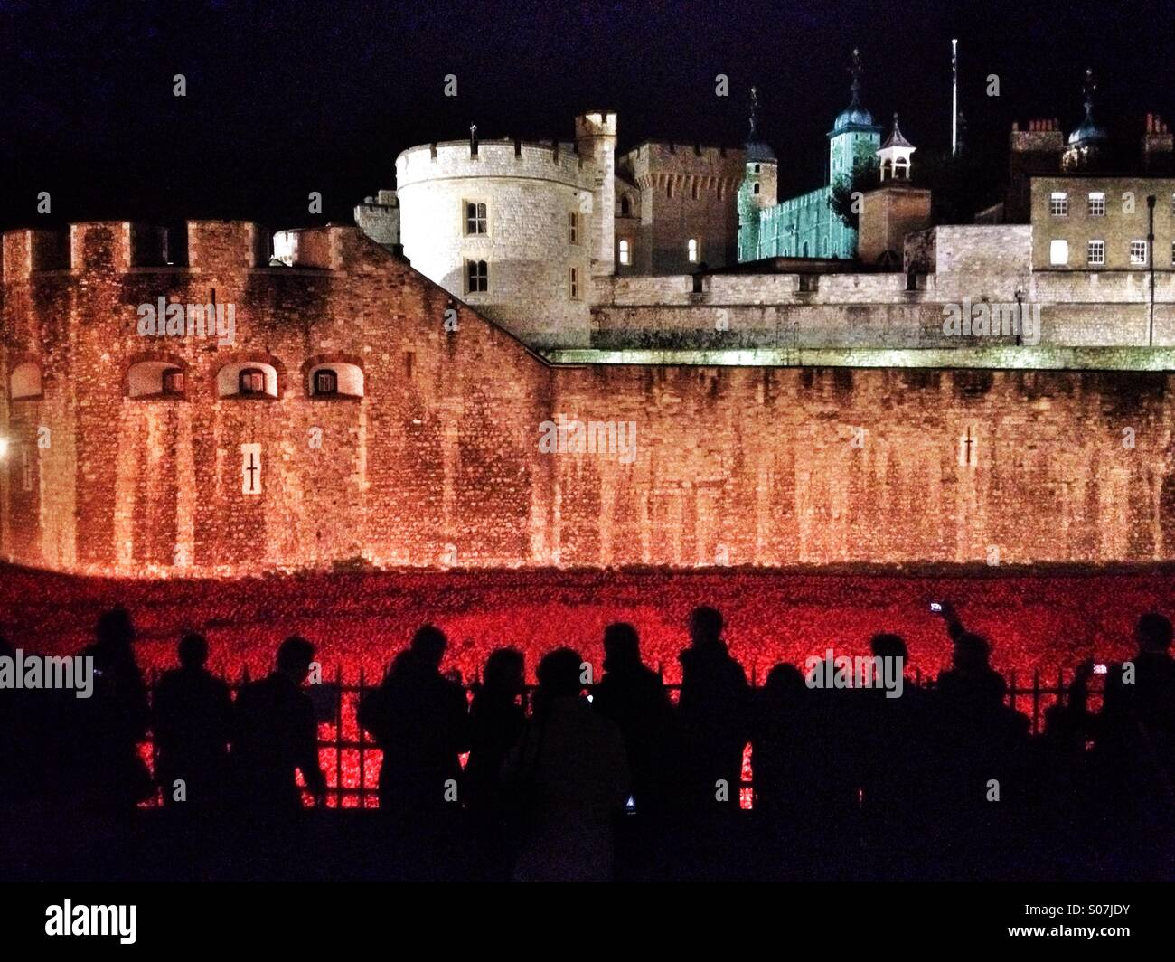 People gather at night to see art installation 'Blood Swept Land and Seas of Red, which consists of 888,246 - Stock Image