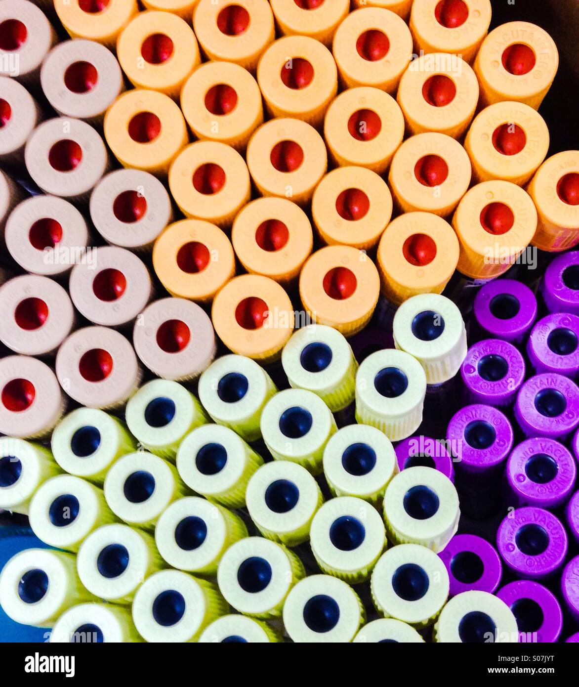 Aerial view of vacutainers, used for blood sample storage. - Stock Image