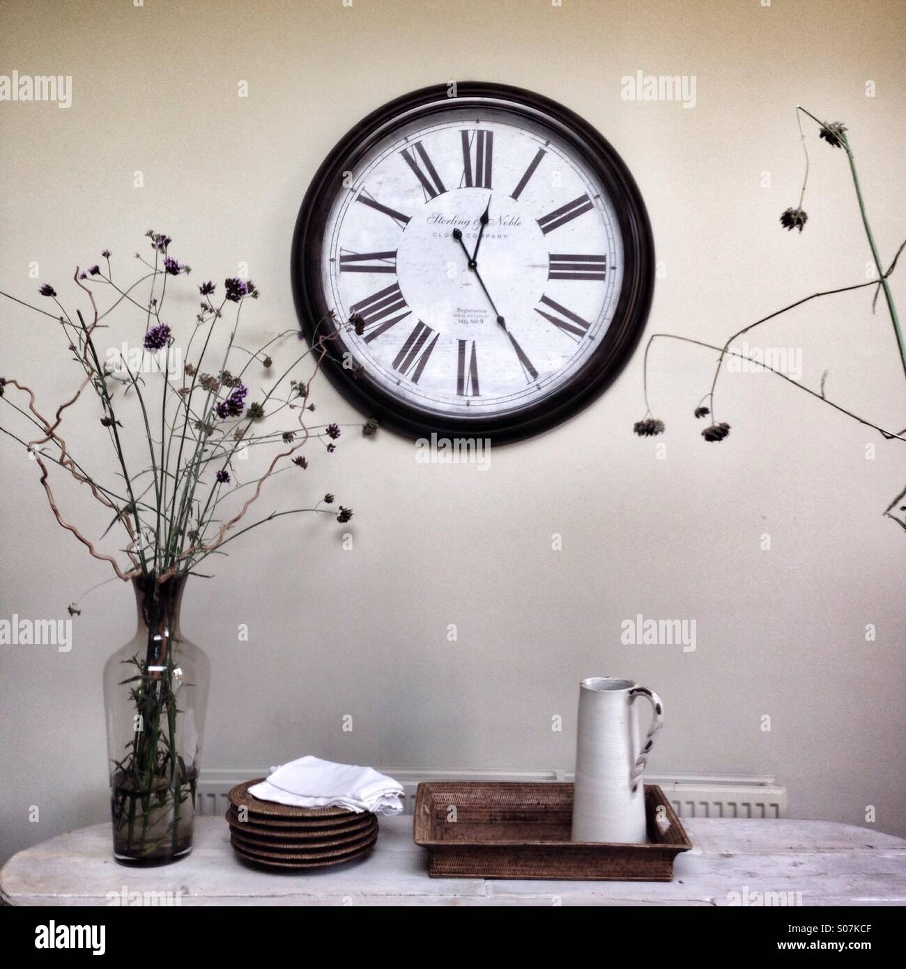 Clock in modern house Stock Photo