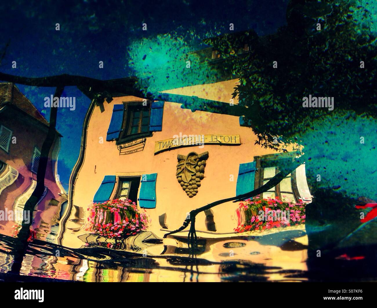Reflexion of an hotel in Alsace, FranceStock Photo