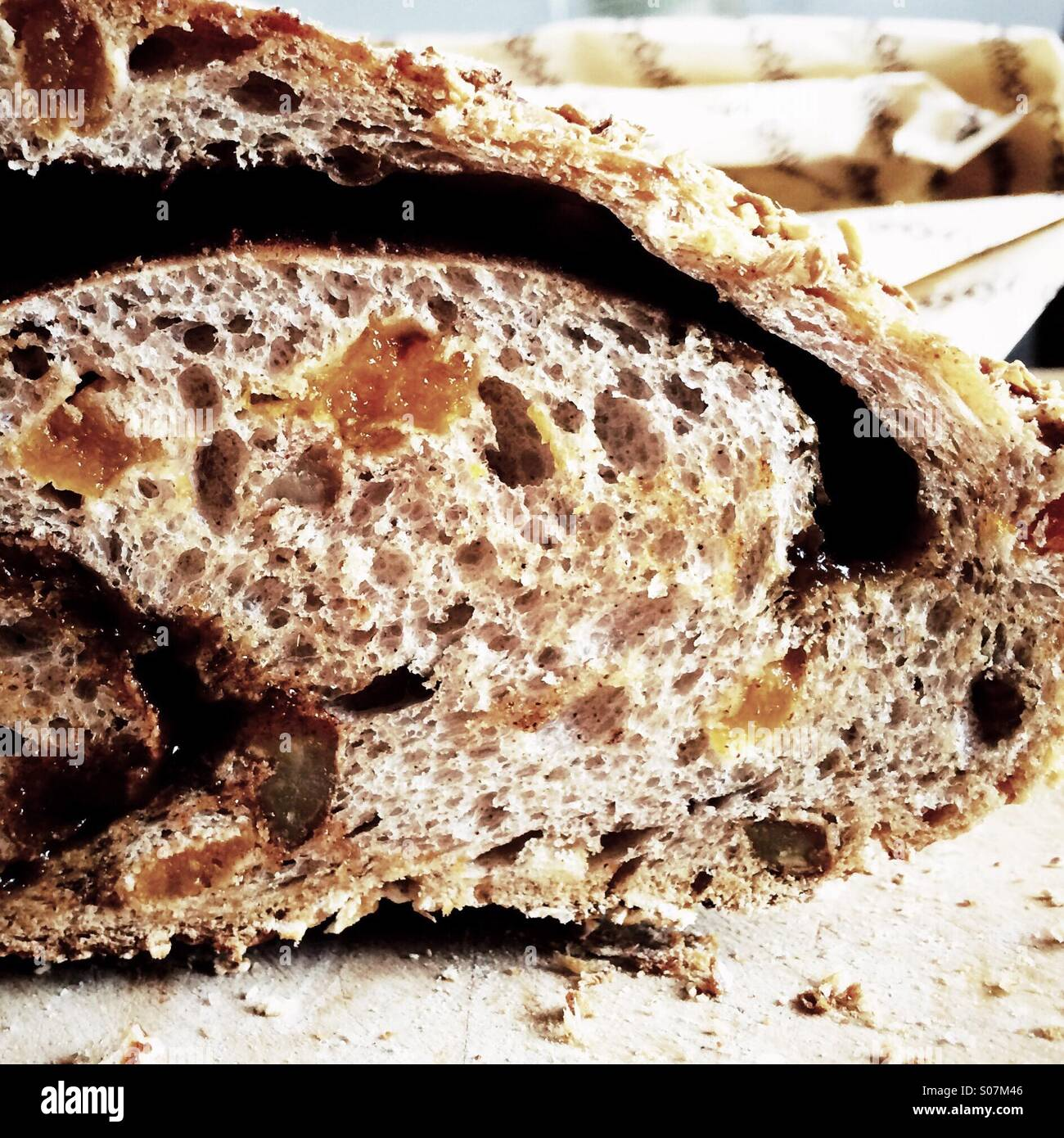 Cut bread loaf - Stock Image