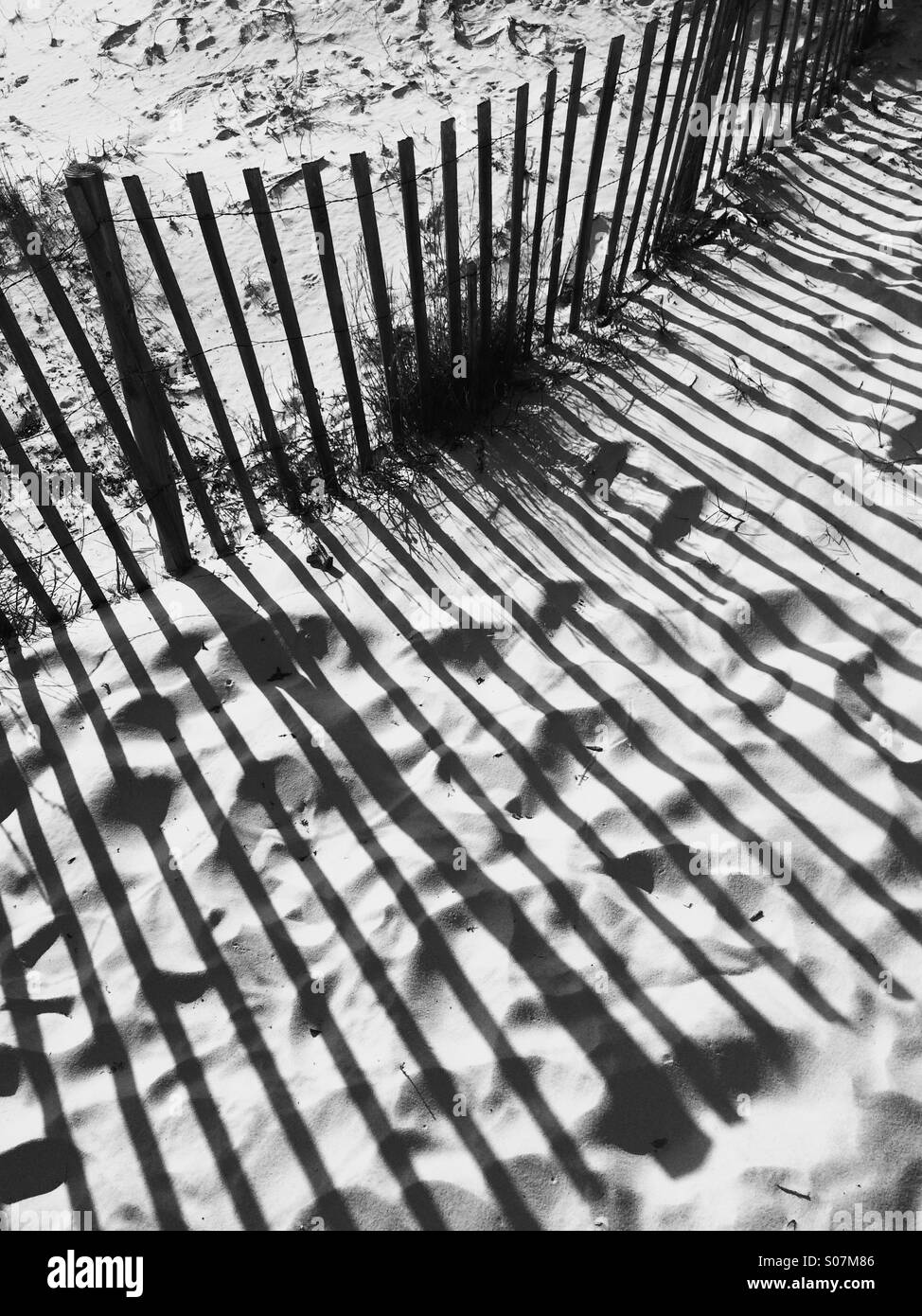 Shadows of a wooden beach fence in a  sand dune, in black and white. - Stock Image