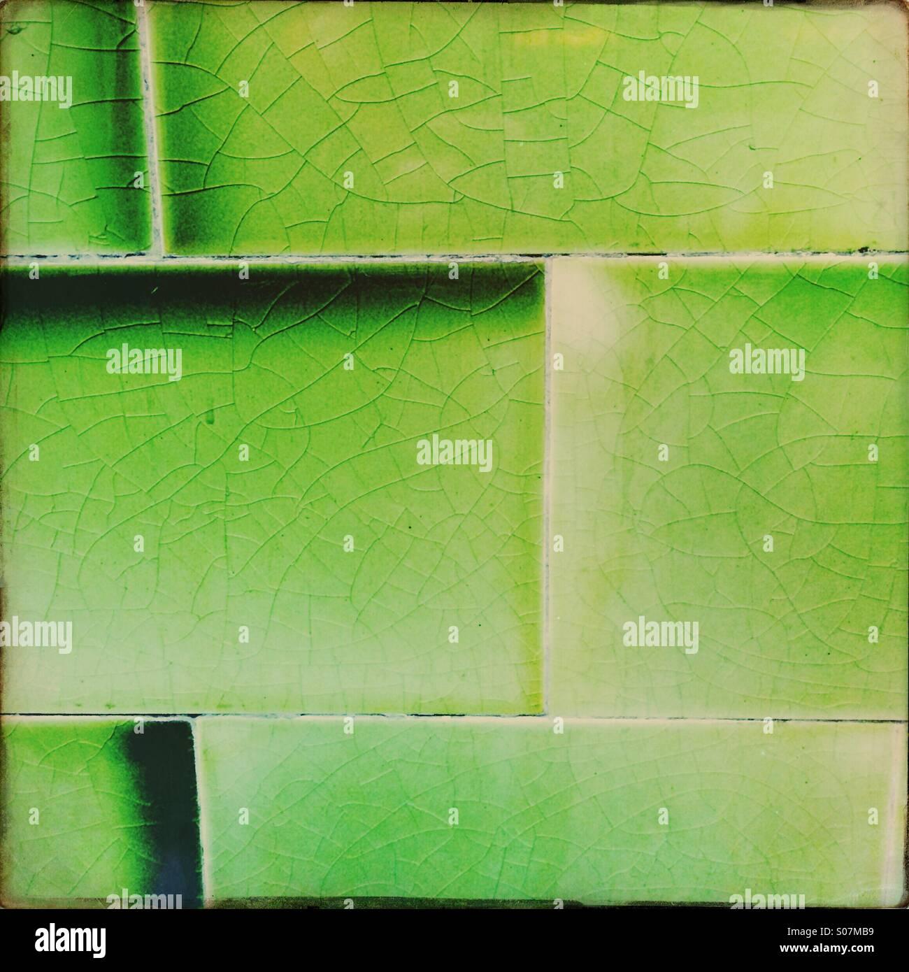 Green tiles wall - Stock Image