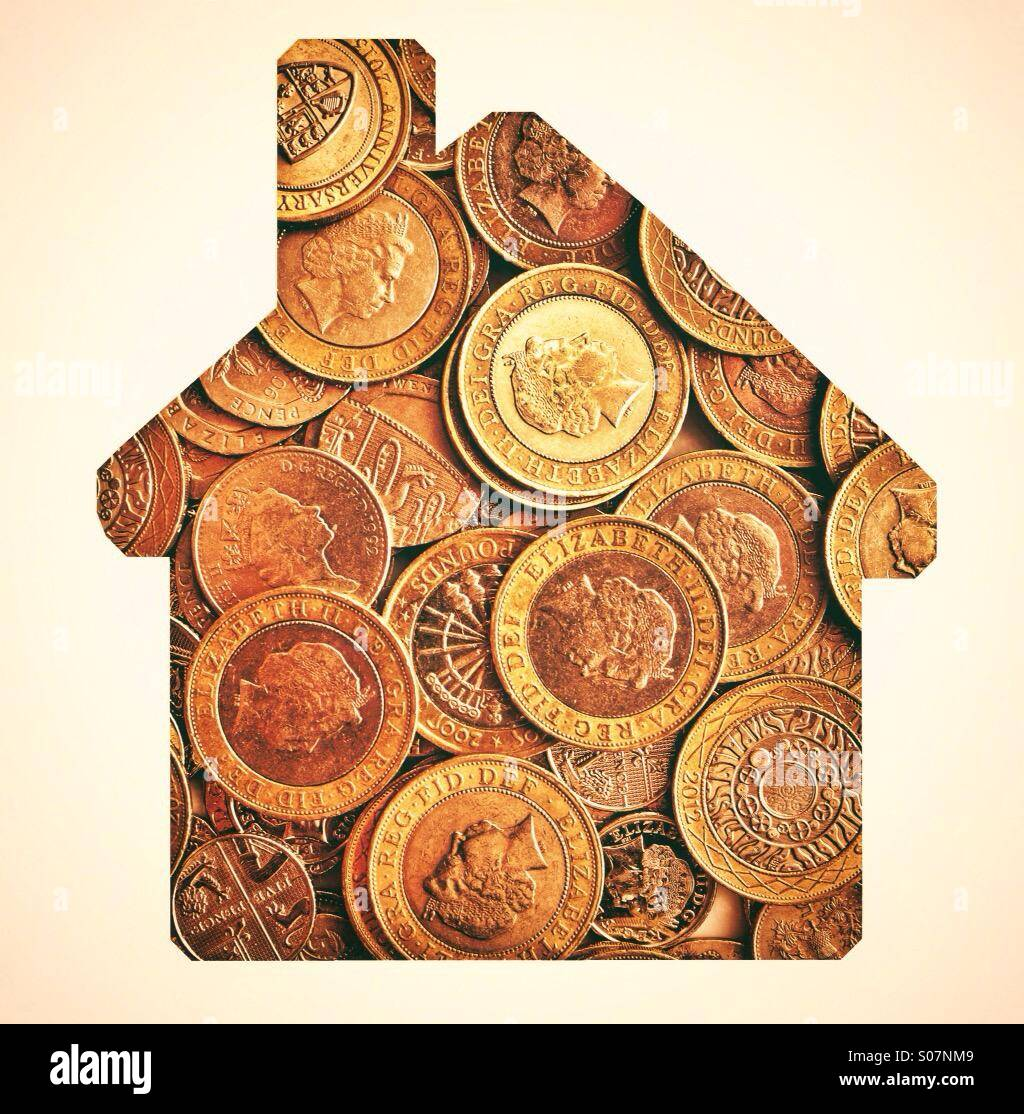 Money in the shape of a house - Money House - Stock Image