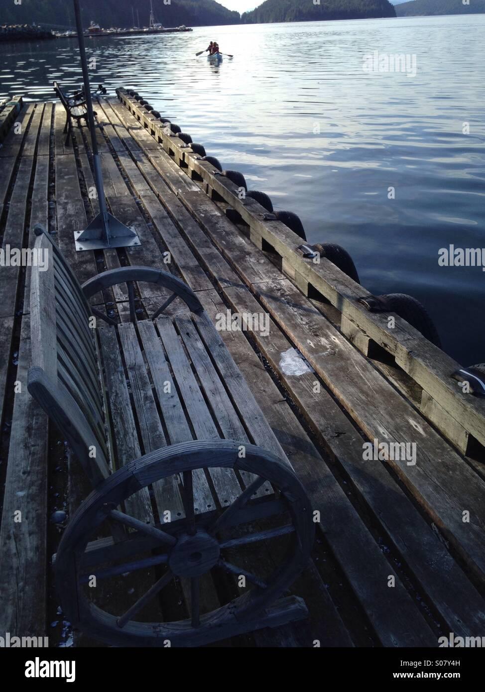 Dock, Desolation Sound, British Columbia, Canada - Stock Image