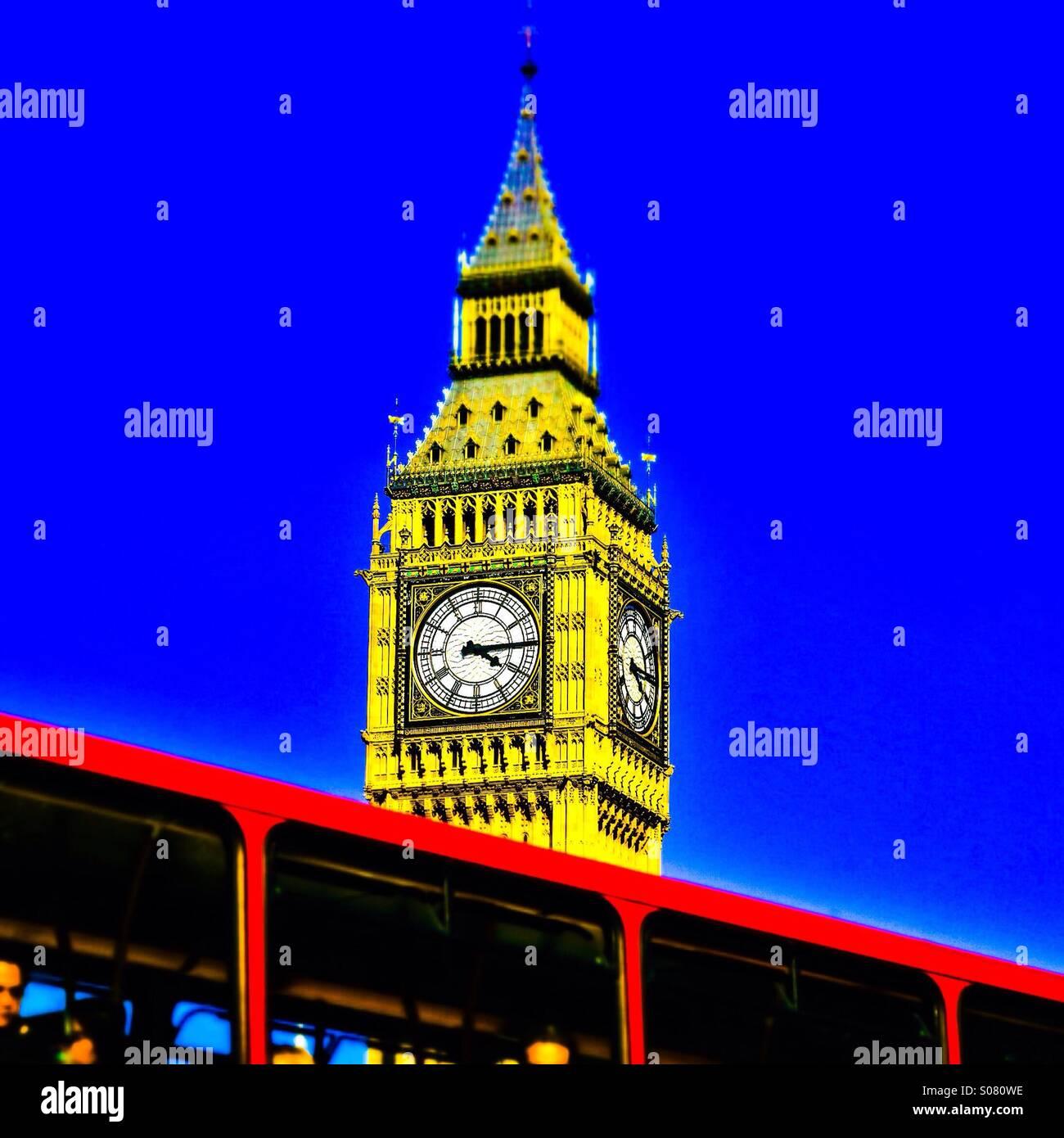 London - Big Ben, St Stephens Tower, Westminster UK. (pop art) - Stock Image
