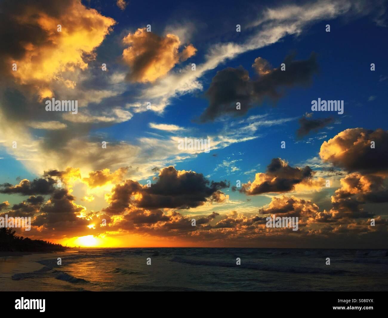 Sunset on the beach - Stock Image