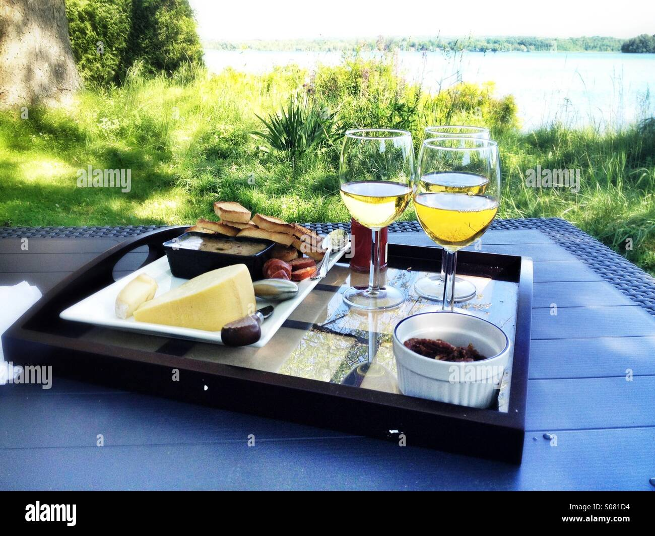 Lunch by the lake - Stock Image